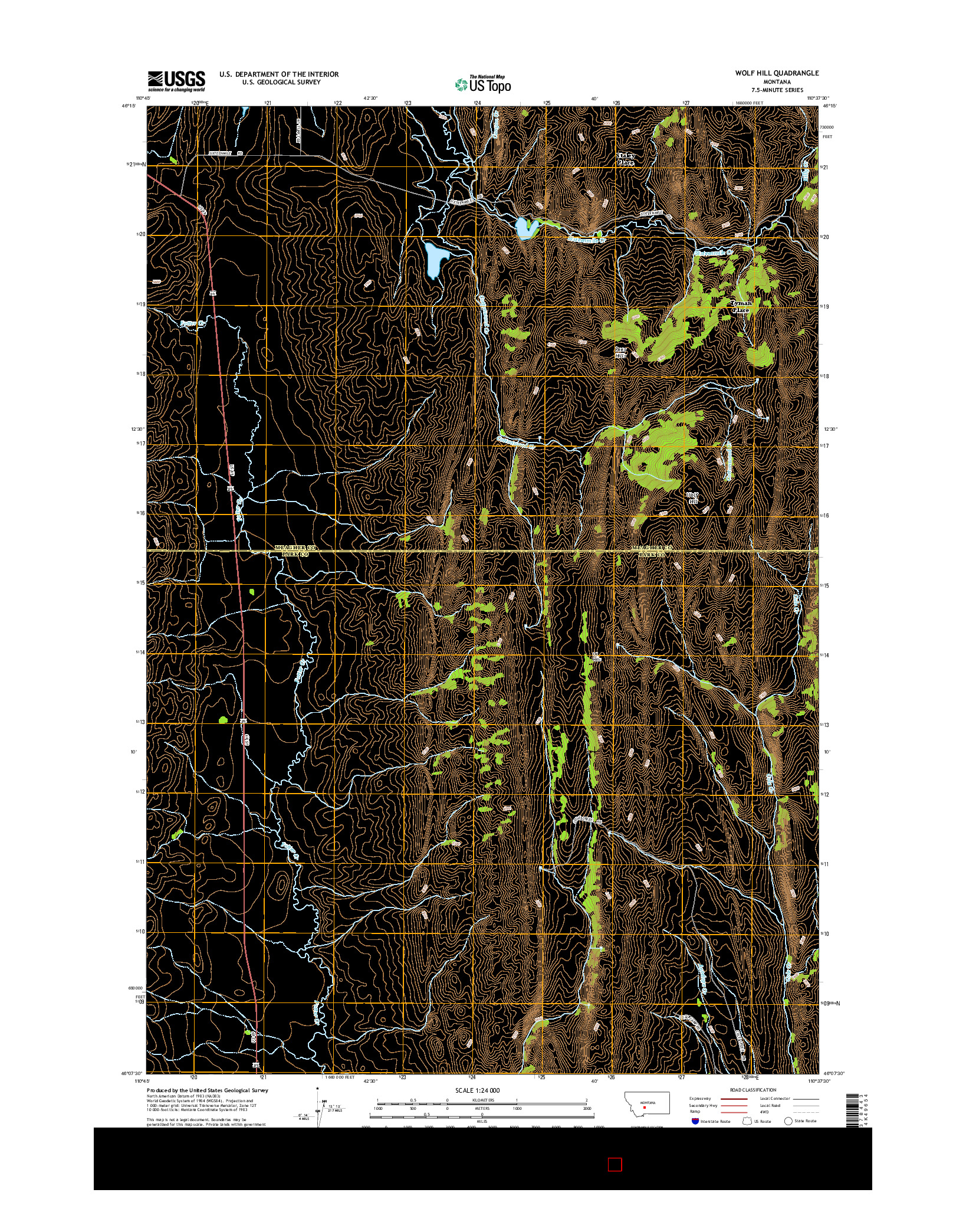 USGS US TOPO 7.5-MINUTE MAP FOR WOLF HILL, MT 2014