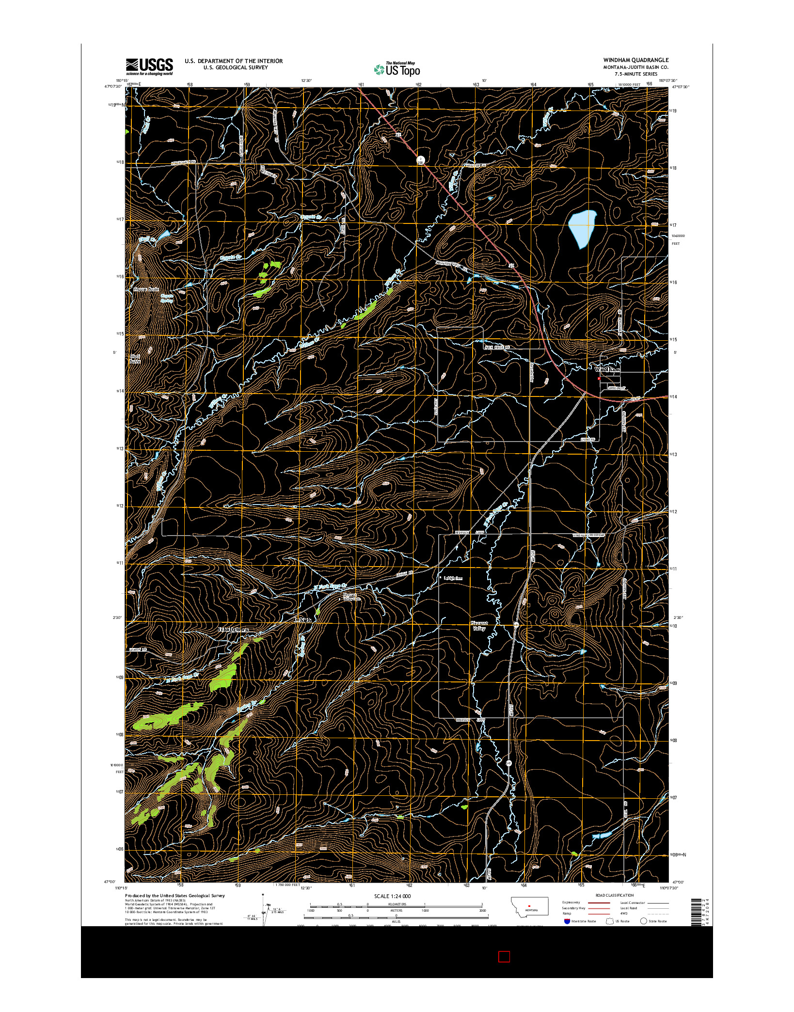 USGS US TOPO 7.5-MINUTE MAP FOR WINDHAM, MT 2014