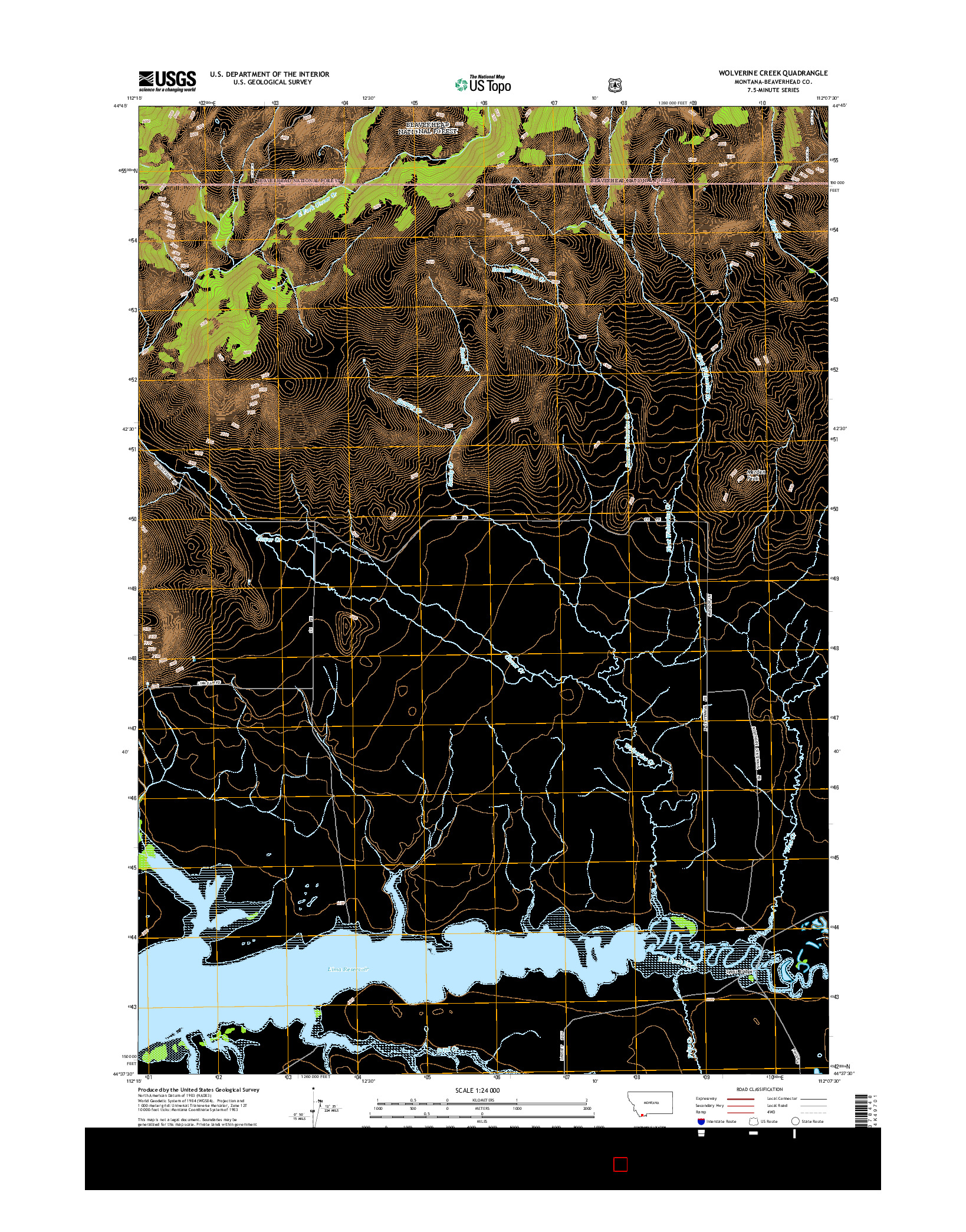 USGS US TOPO 7.5-MINUTE MAP FOR WOLVERINE CREEK, MT 2014