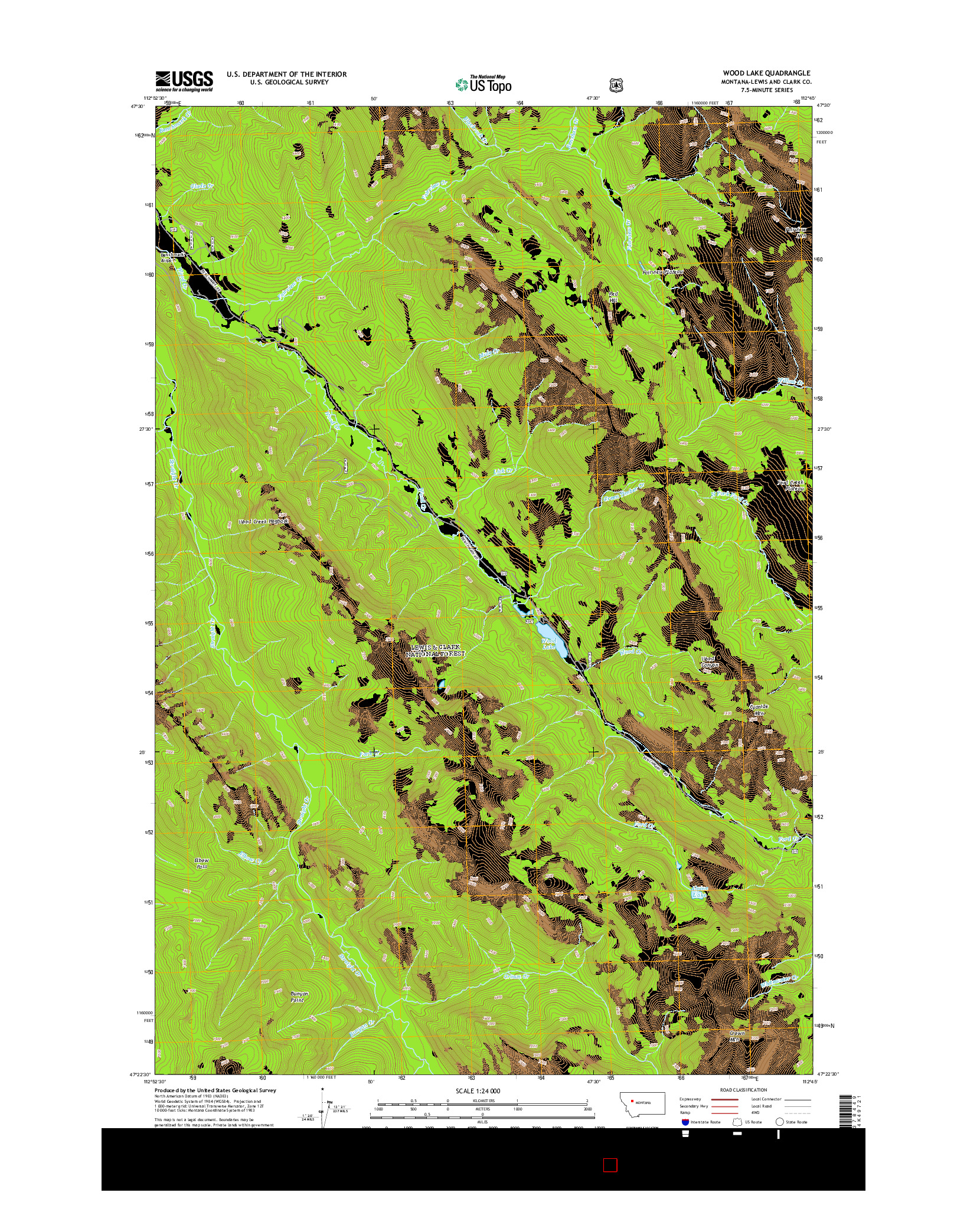 USGS US TOPO 7.5-MINUTE MAP FOR WOOD LAKE, MT 2014