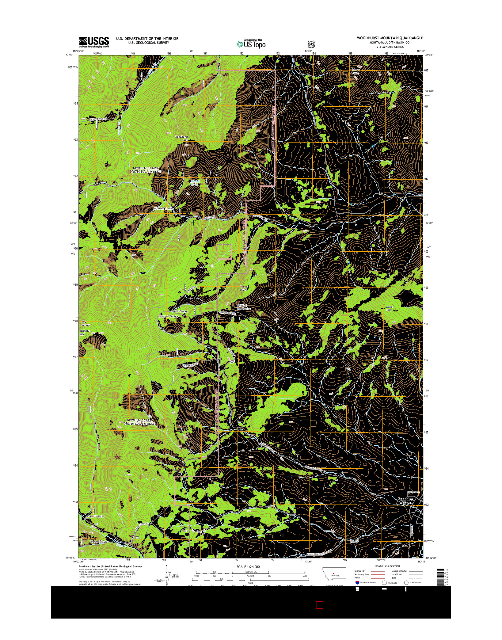 USGS US TOPO 7.5-MINUTE MAP FOR WOODHURST MOUNTAIN, MT 2014