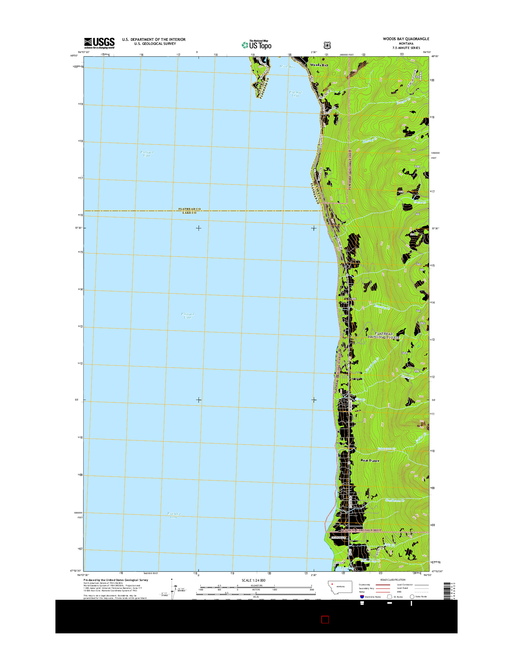 USGS US TOPO 7.5-MINUTE MAP FOR WOODS BAY, MT 2014