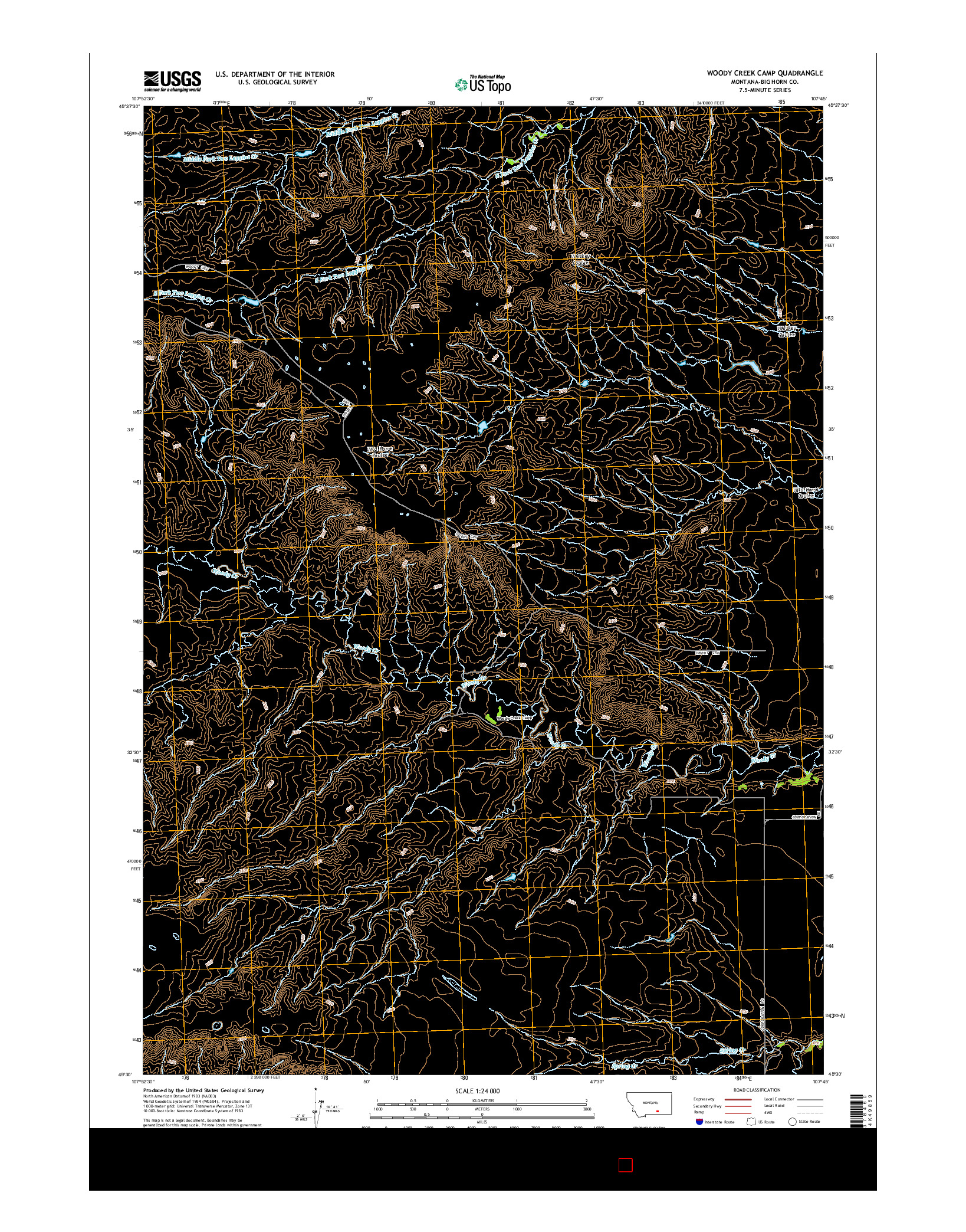 USGS US TOPO 7.5-MINUTE MAP FOR WOODY CREEK CAMP, MT 2014