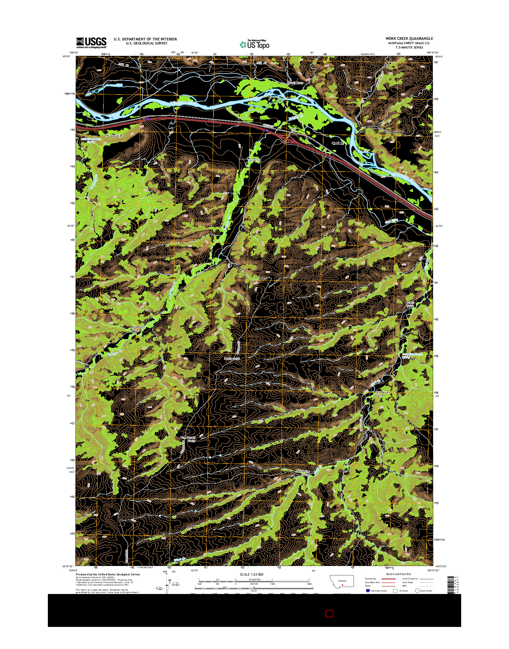 USGS US TOPO 7.5-MINUTE MAP FOR WORK CREEK, MT 2014