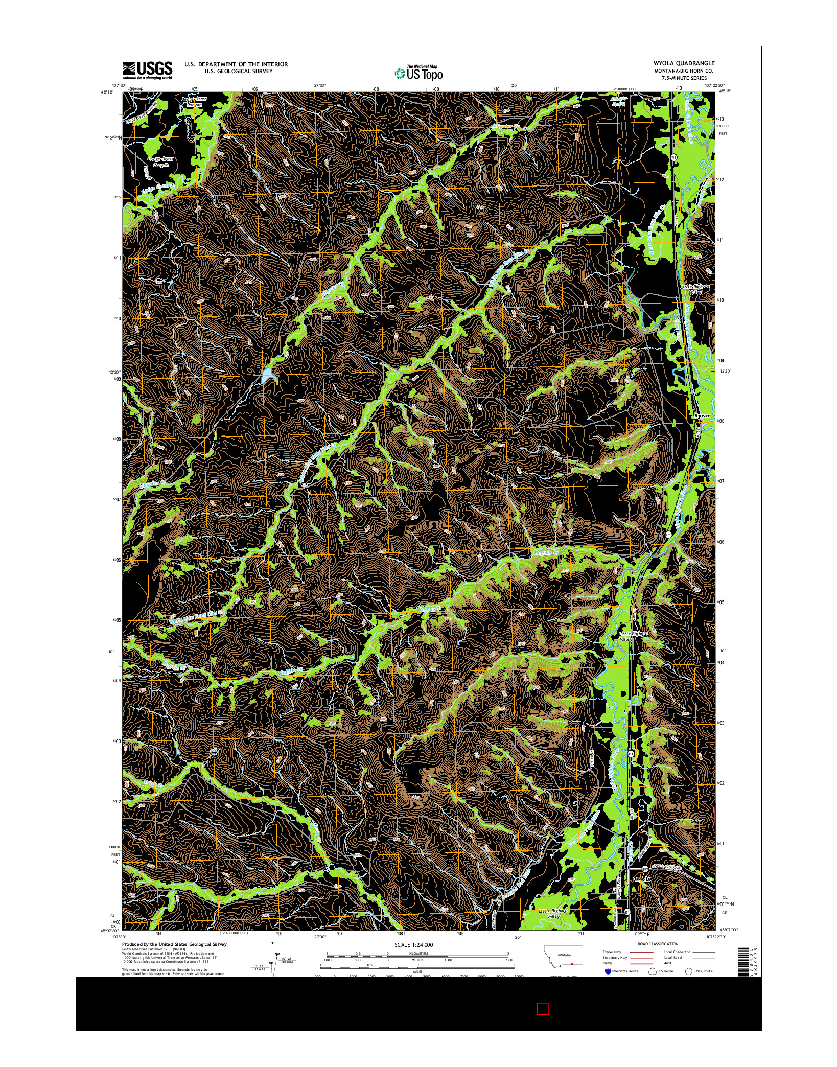 USGS US TOPO 7.5-MINUTE MAP FOR WYOLA, MT 2014