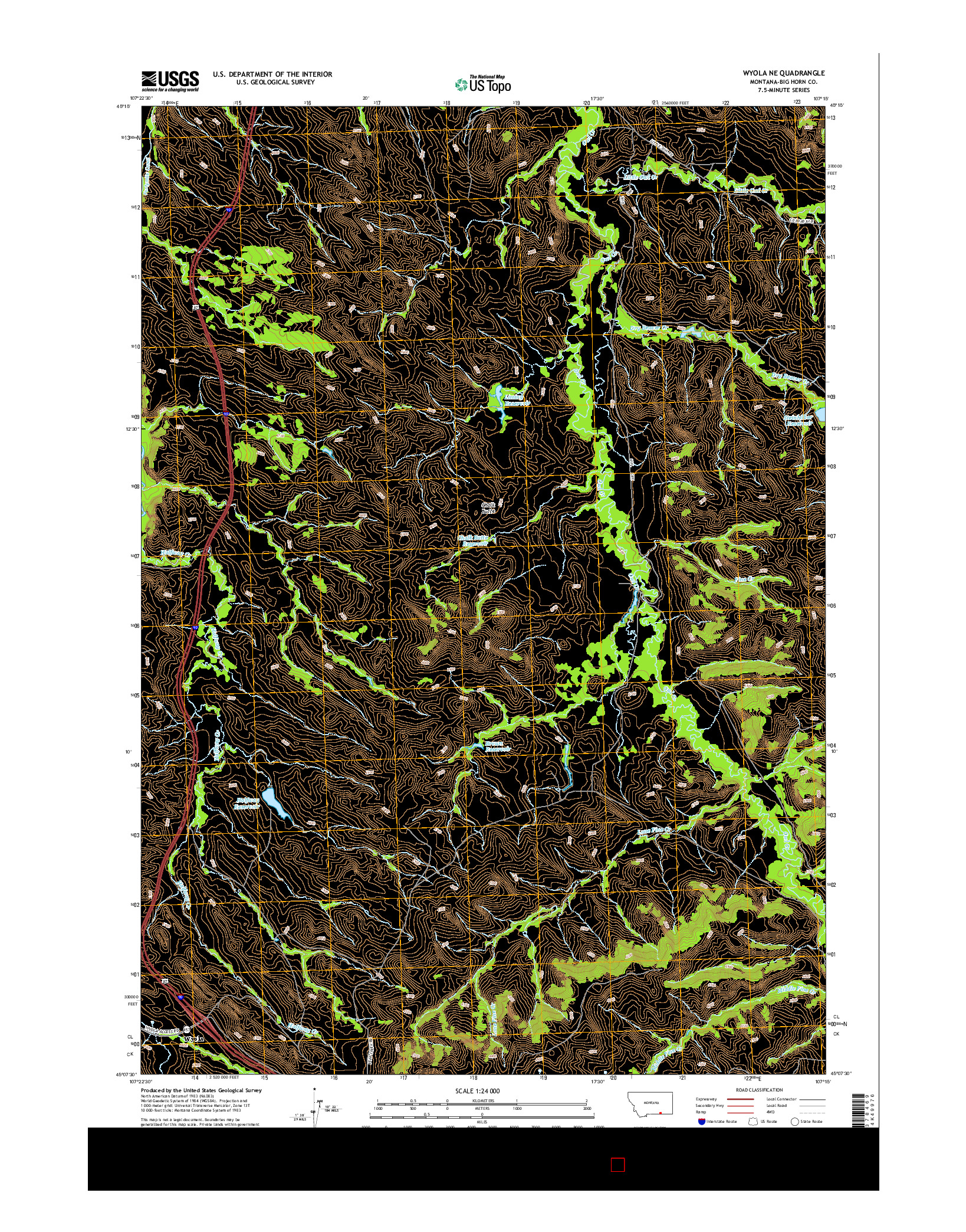 USGS US TOPO 7.5-MINUTE MAP FOR WYOLA NE, MT 2014