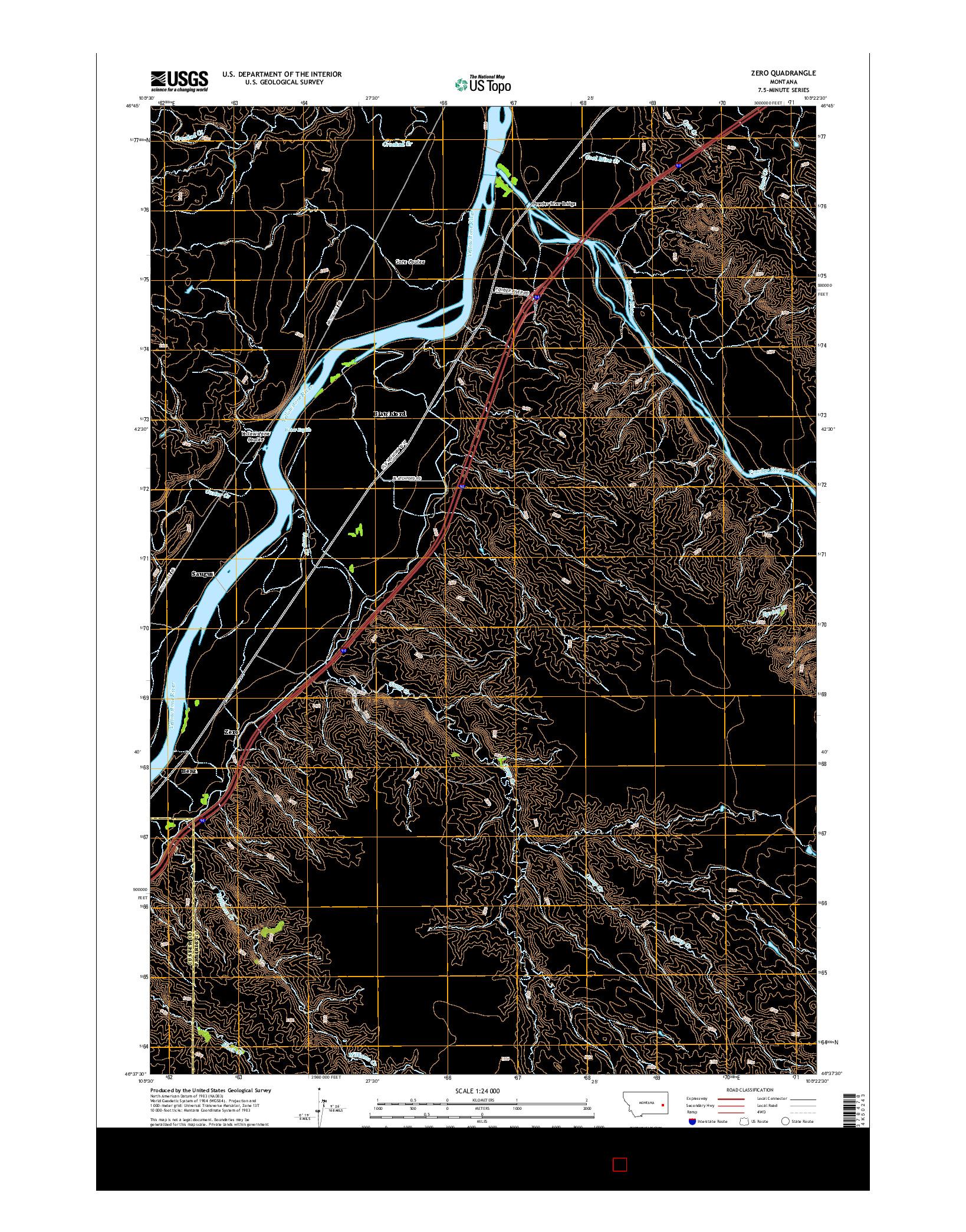USGS US TOPO 7.5-MINUTE MAP FOR ZERO, MT 2014