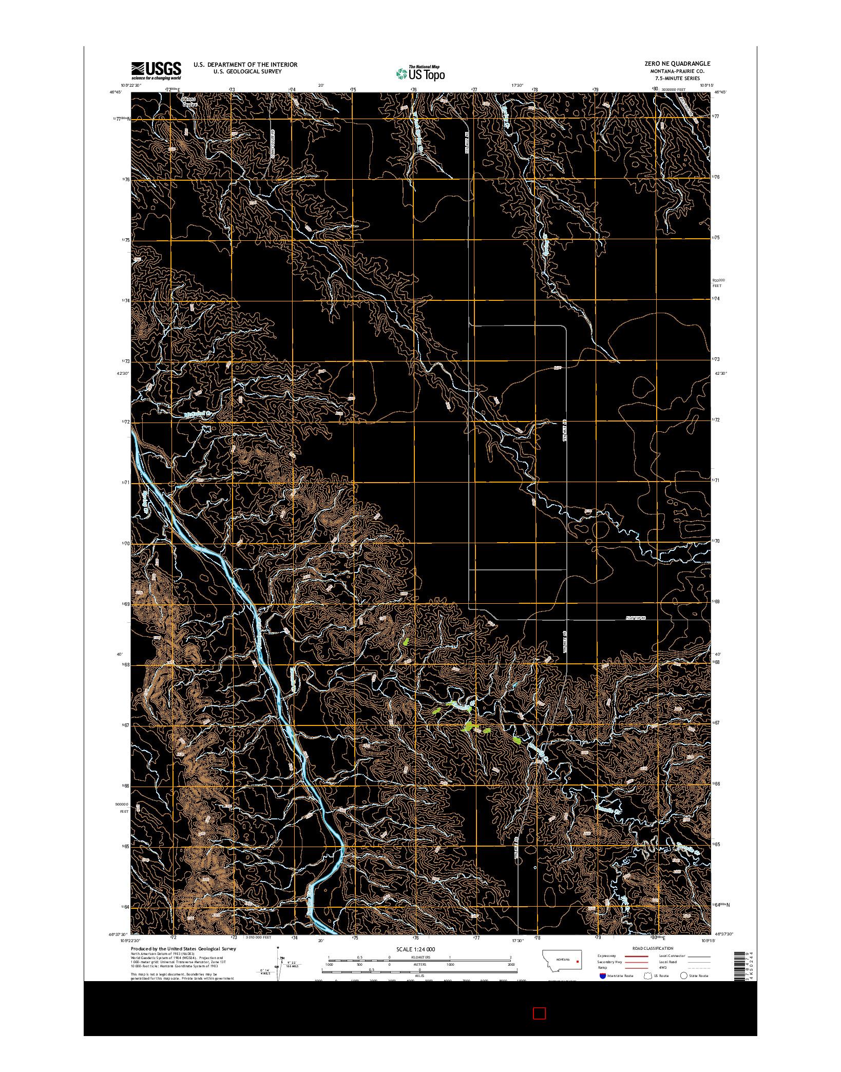USGS US TOPO 7.5-MINUTE MAP FOR ZERO NE, MT 2014