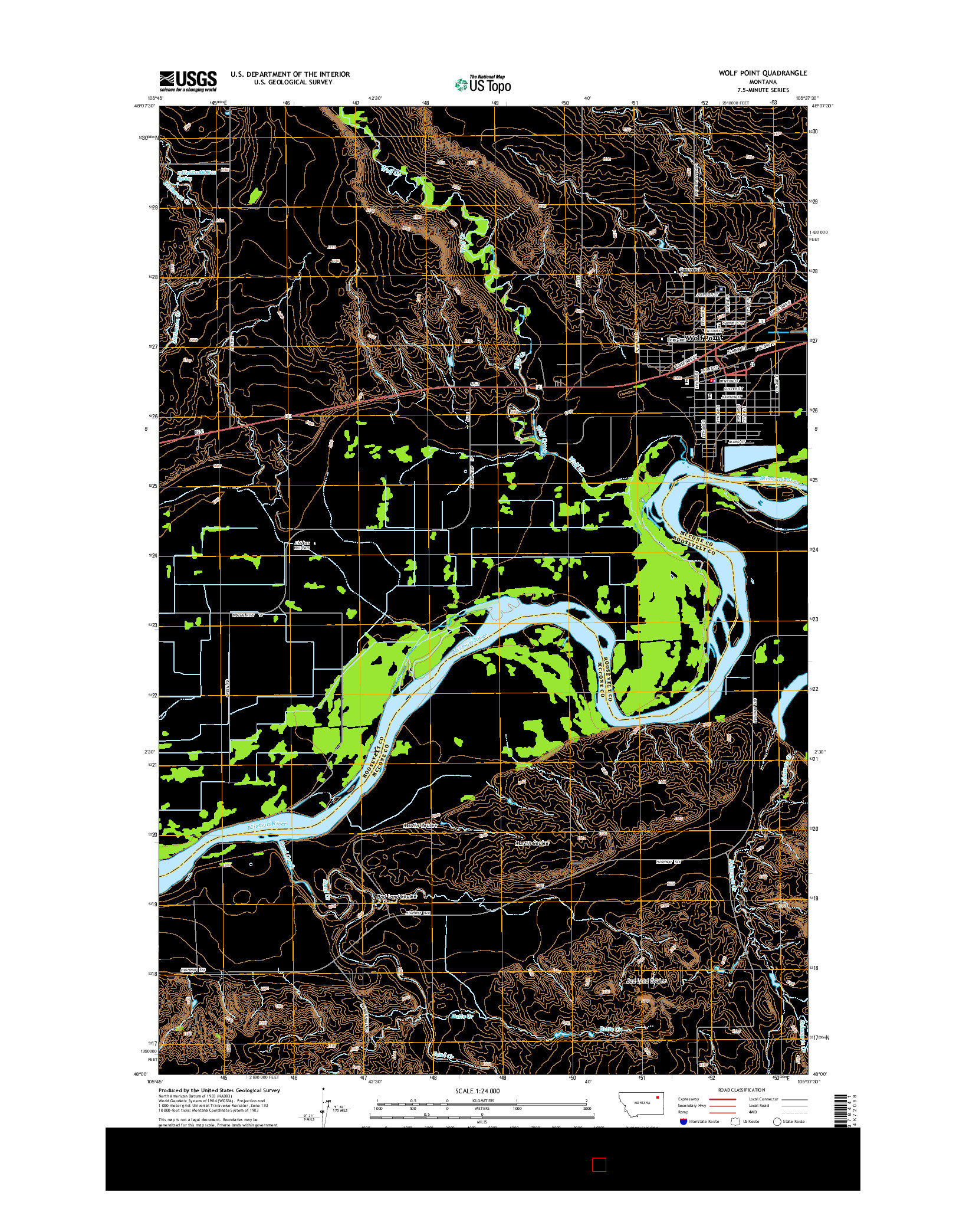 USGS US TOPO 7.5-MINUTE MAP FOR WOLF POINT, MT 2014
