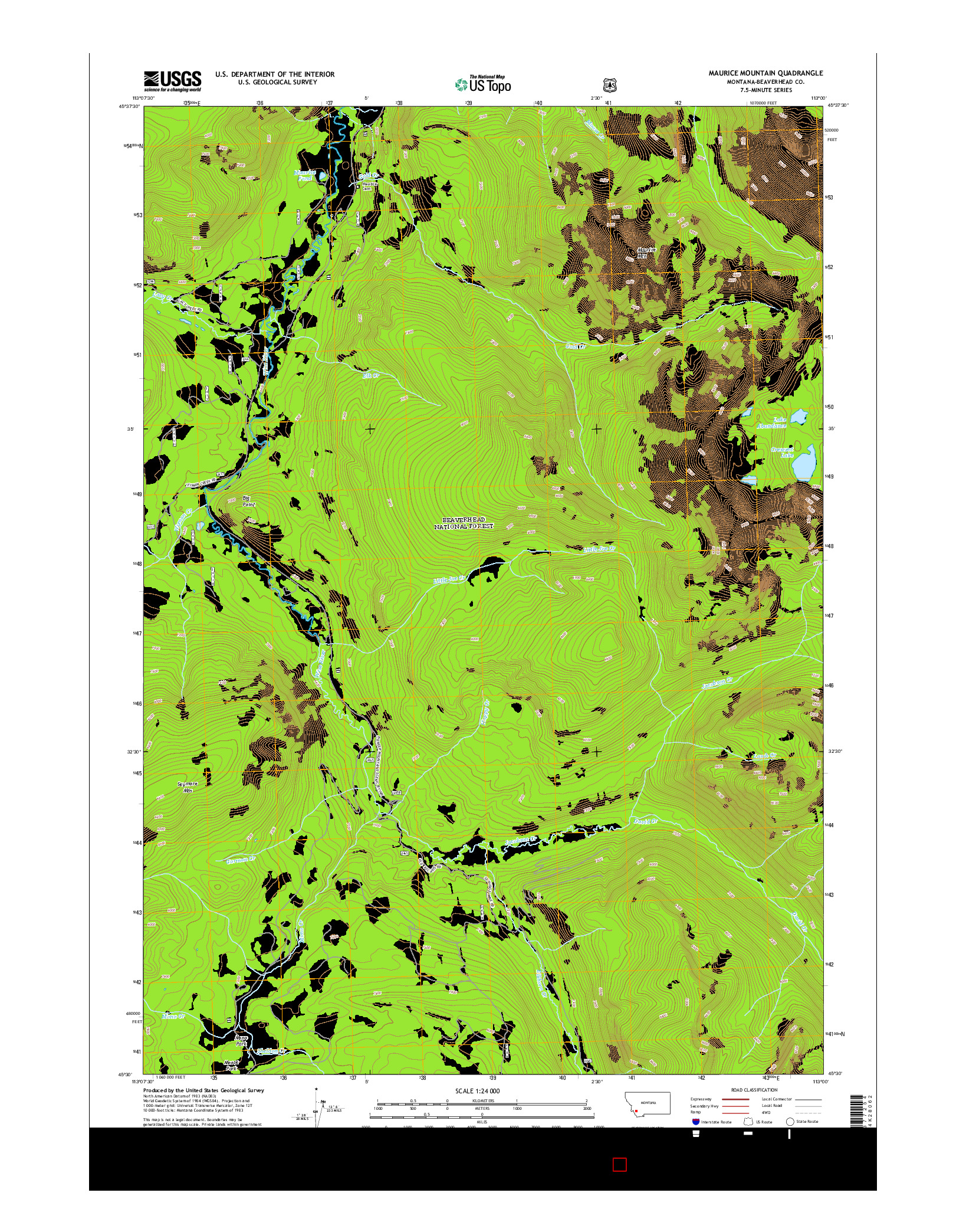 USGS US TOPO 7.5-MINUTE MAP FOR MAURICE MOUNTAIN, MT 2014