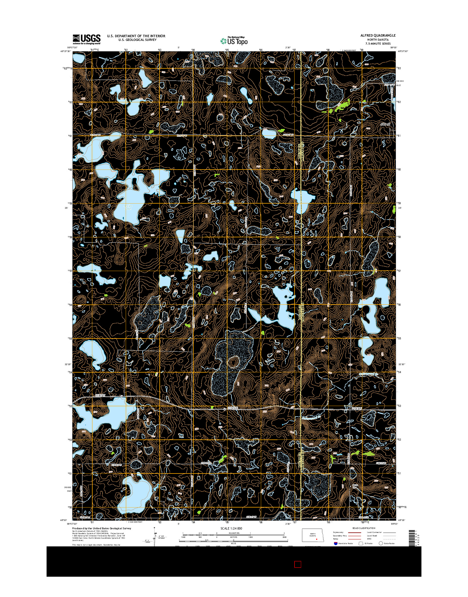 USGS US TOPO 7.5-MINUTE MAP FOR ALFRED, ND 2014