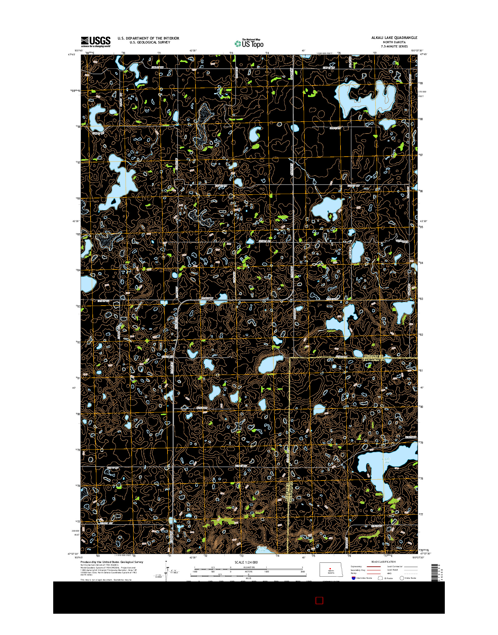 USGS US TOPO 7.5-MINUTE MAP FOR ALKALI LAKE, ND 2014