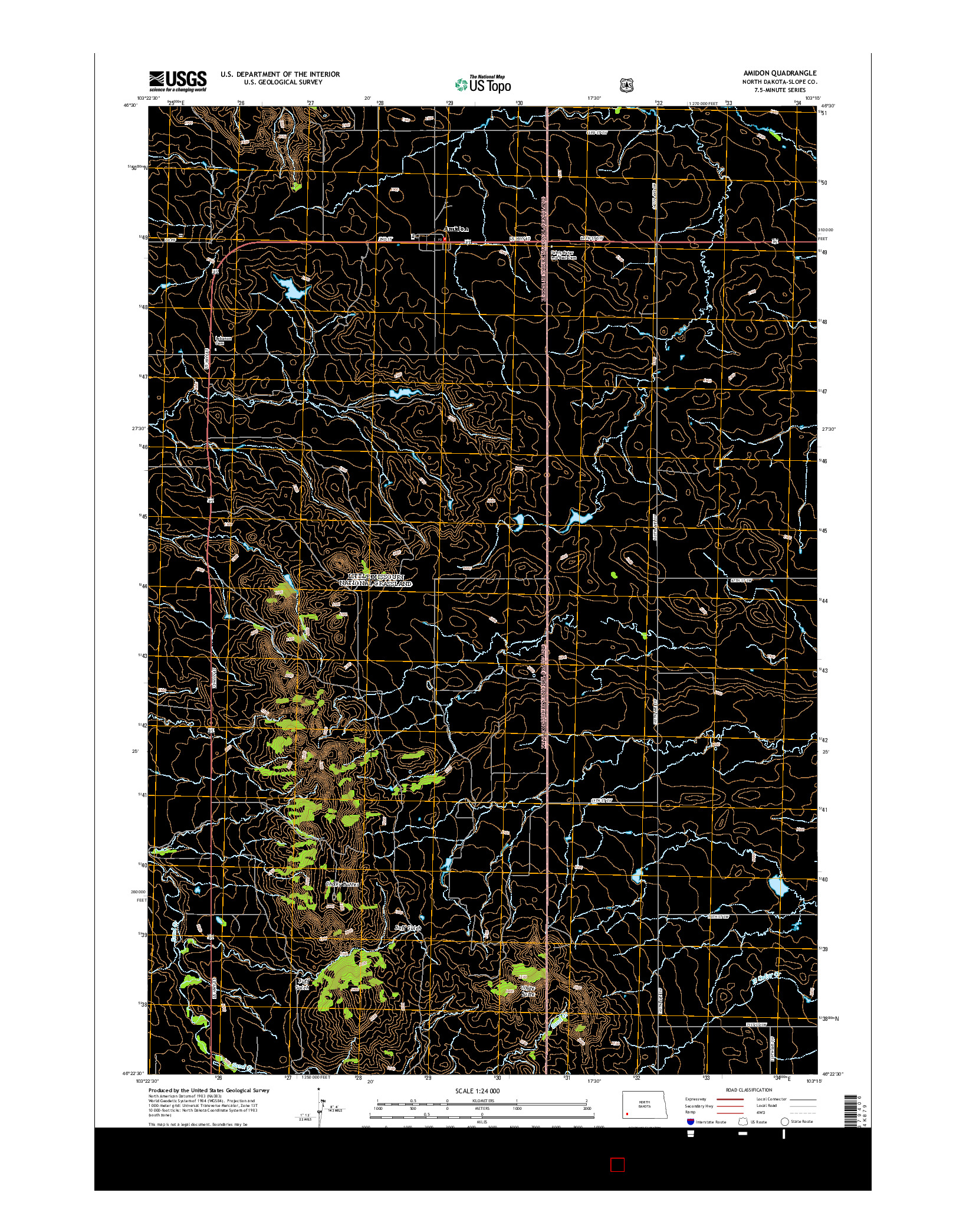 USGS US TOPO 7.5-MINUTE MAP FOR AMIDON, ND 2014