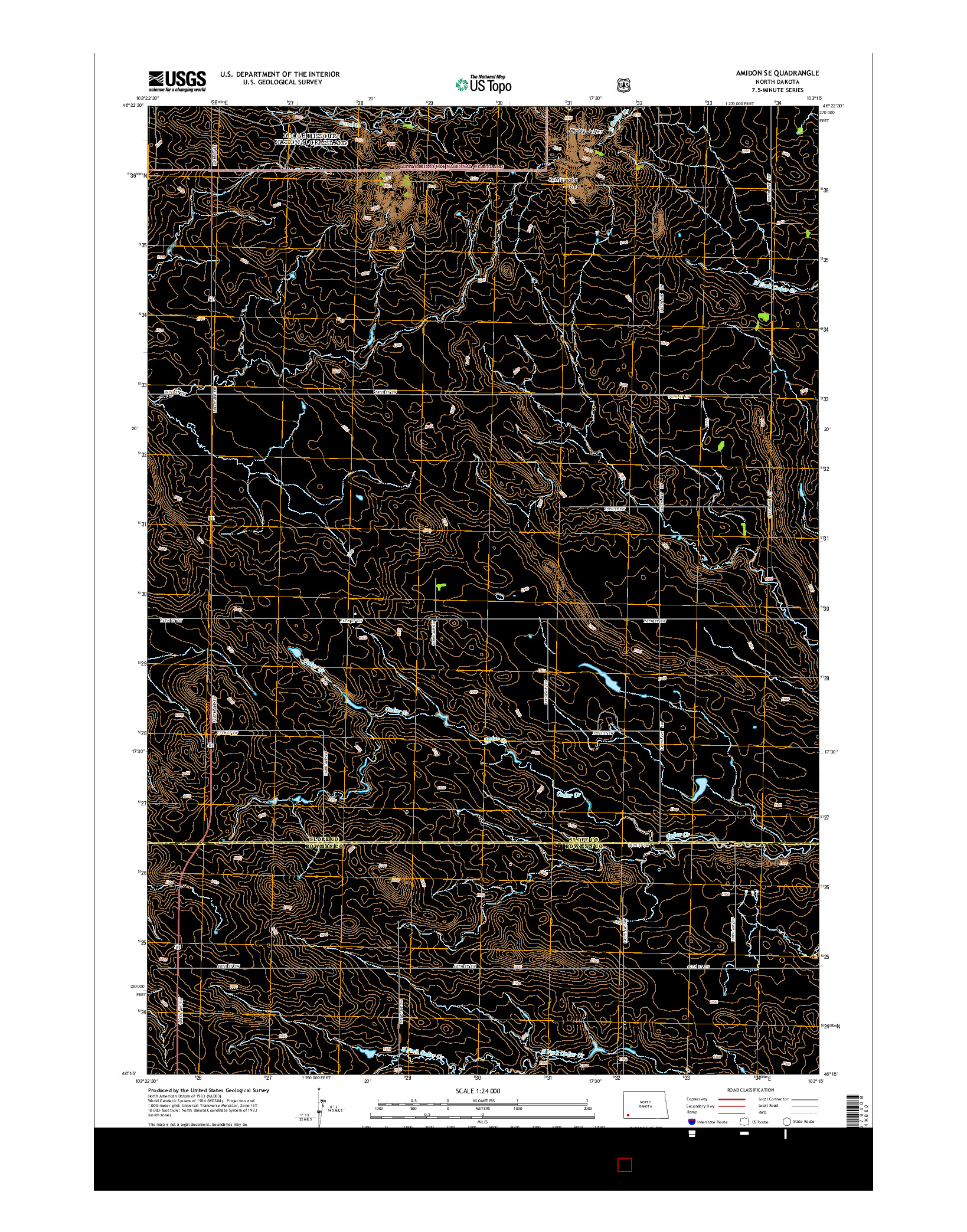 USGS US TOPO 7.5-MINUTE MAP FOR AMIDON SE, ND 2014