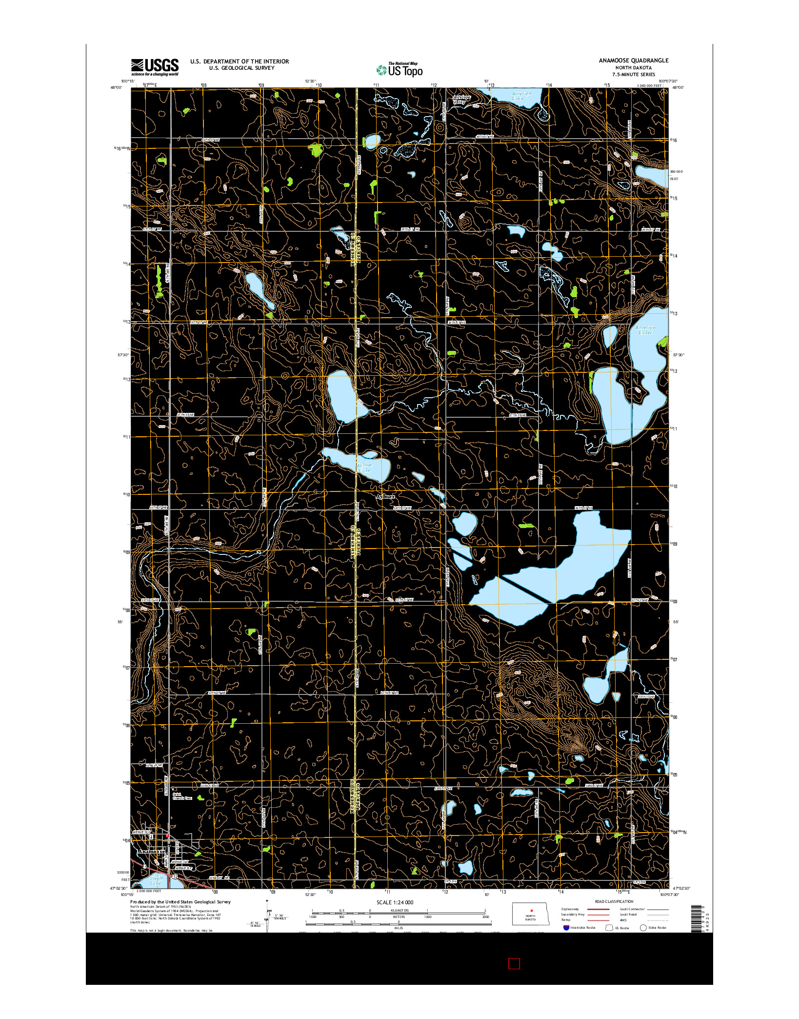 USGS US TOPO 7.5-MINUTE MAP FOR ANAMOOSE, ND 2014