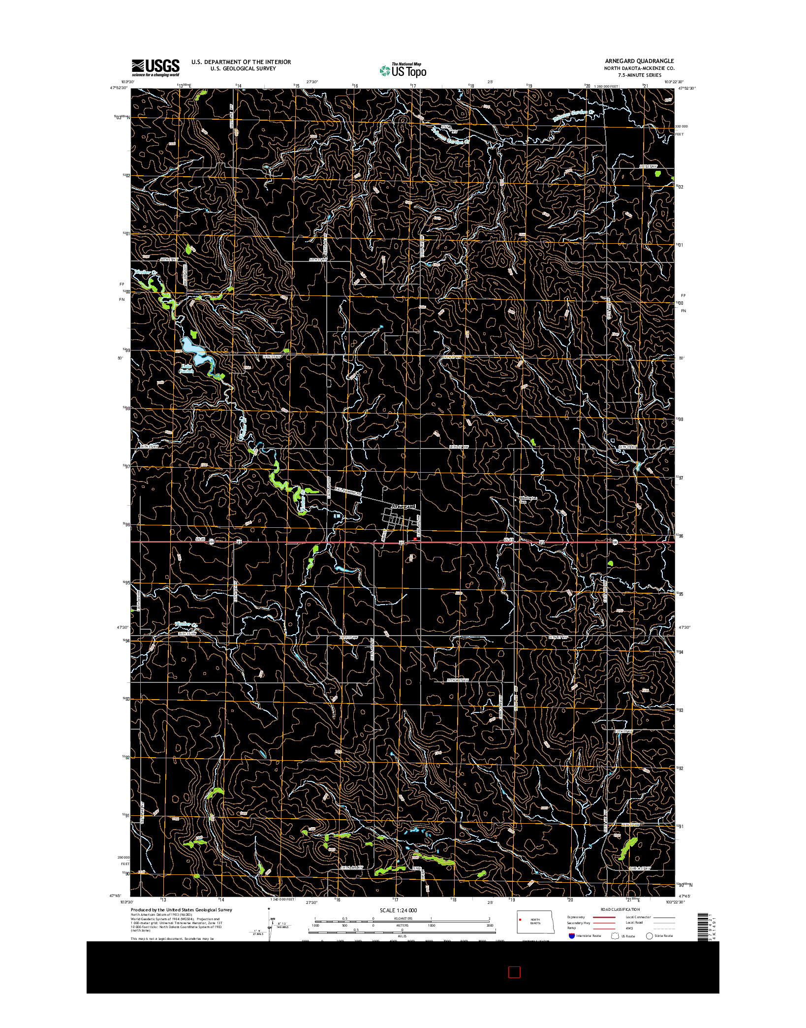 USGS US TOPO 7.5-MINUTE MAP FOR ARNEGARD, ND 2014