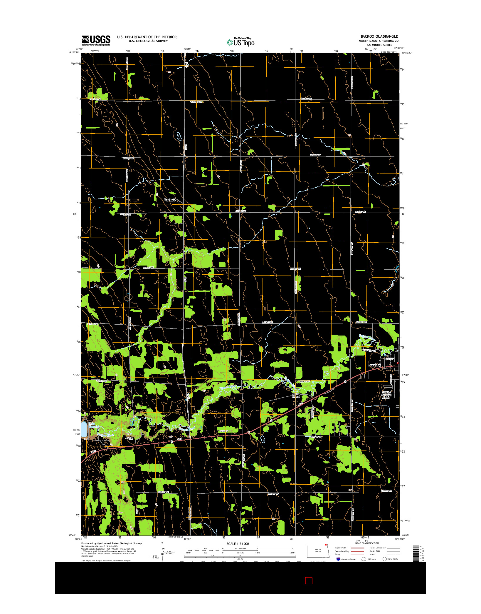 USGS US TOPO 7.5-MINUTE MAP FOR BACKOO, ND 2014