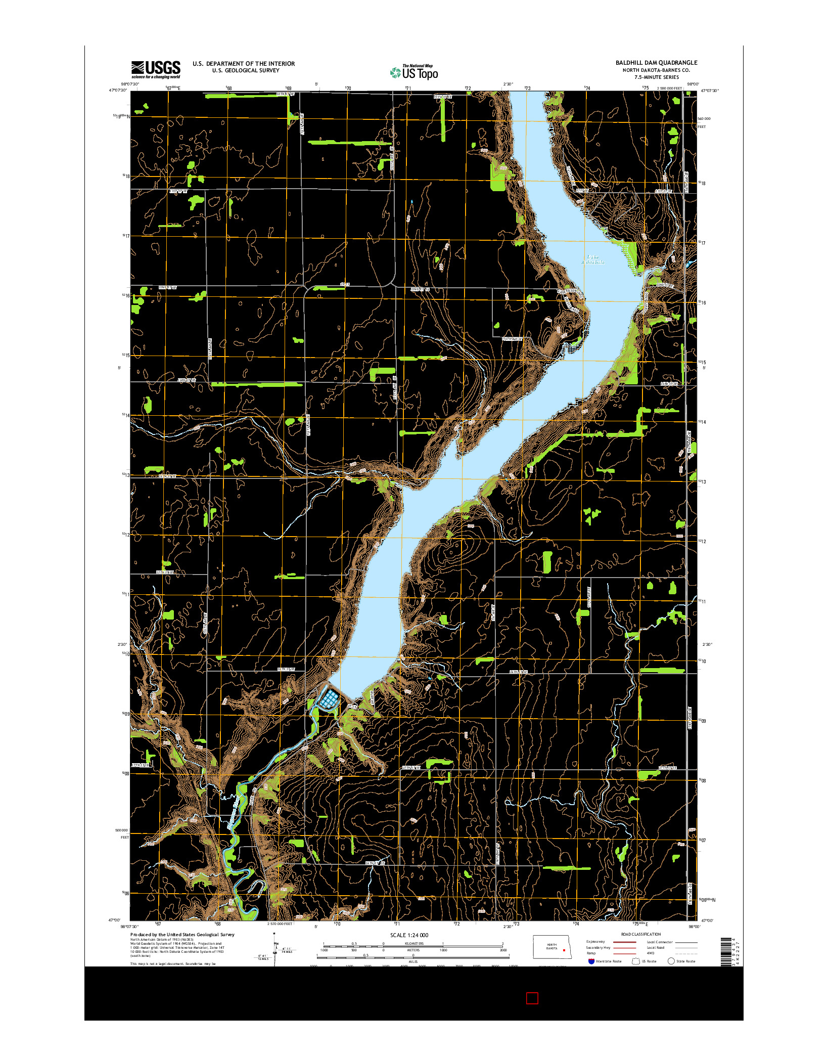 USGS US TOPO 7.5-MINUTE MAP FOR BALDHILL DAM, ND 2014