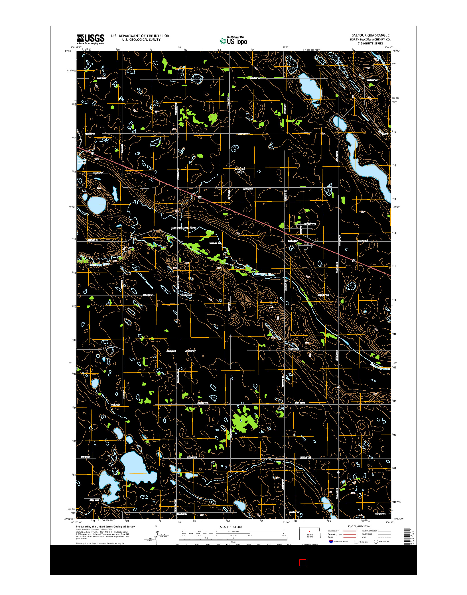 USGS US TOPO 7.5-MINUTE MAP FOR BALFOUR, ND 2014