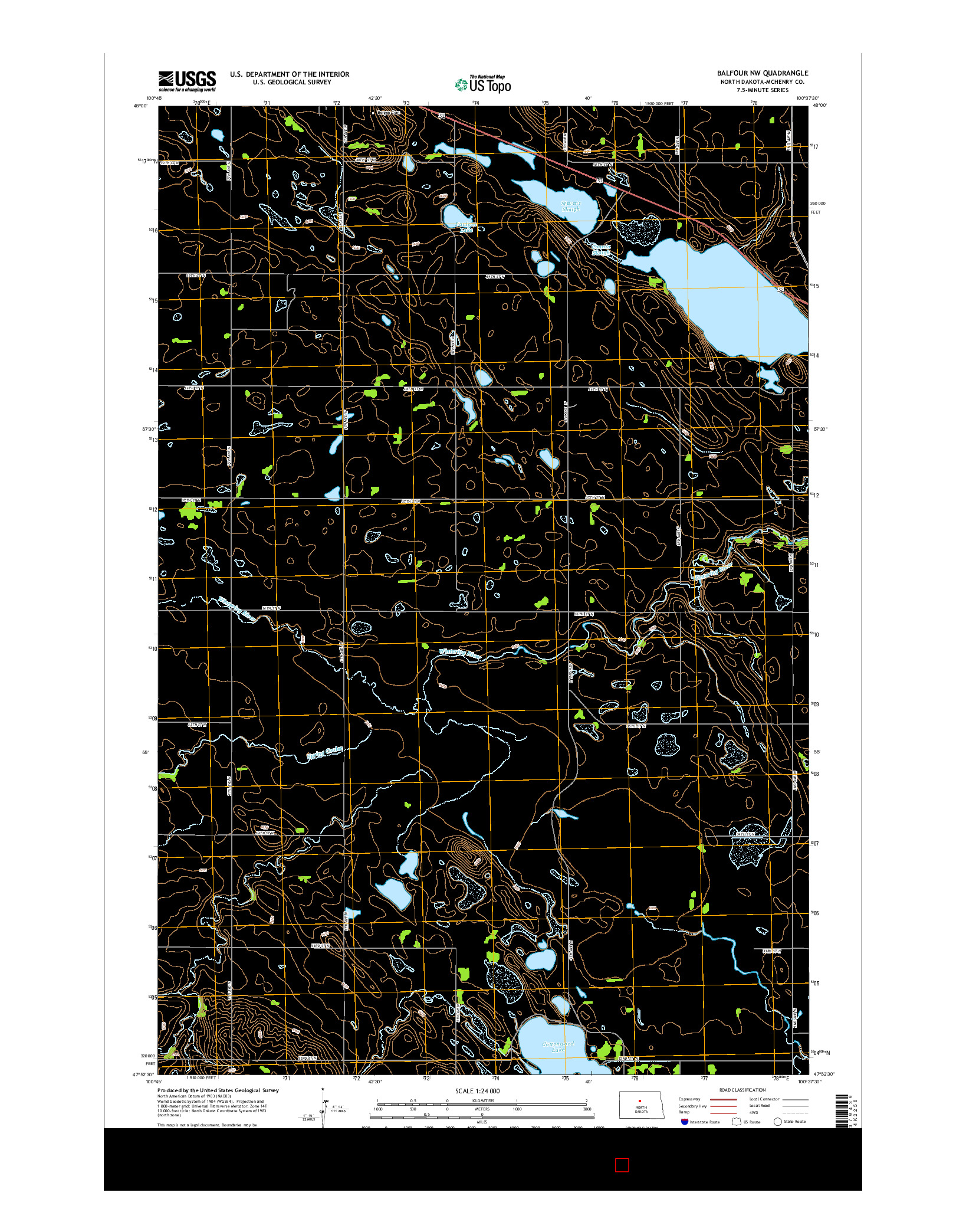 USGS US TOPO 7.5-MINUTE MAP FOR BALFOUR NW, ND 2014