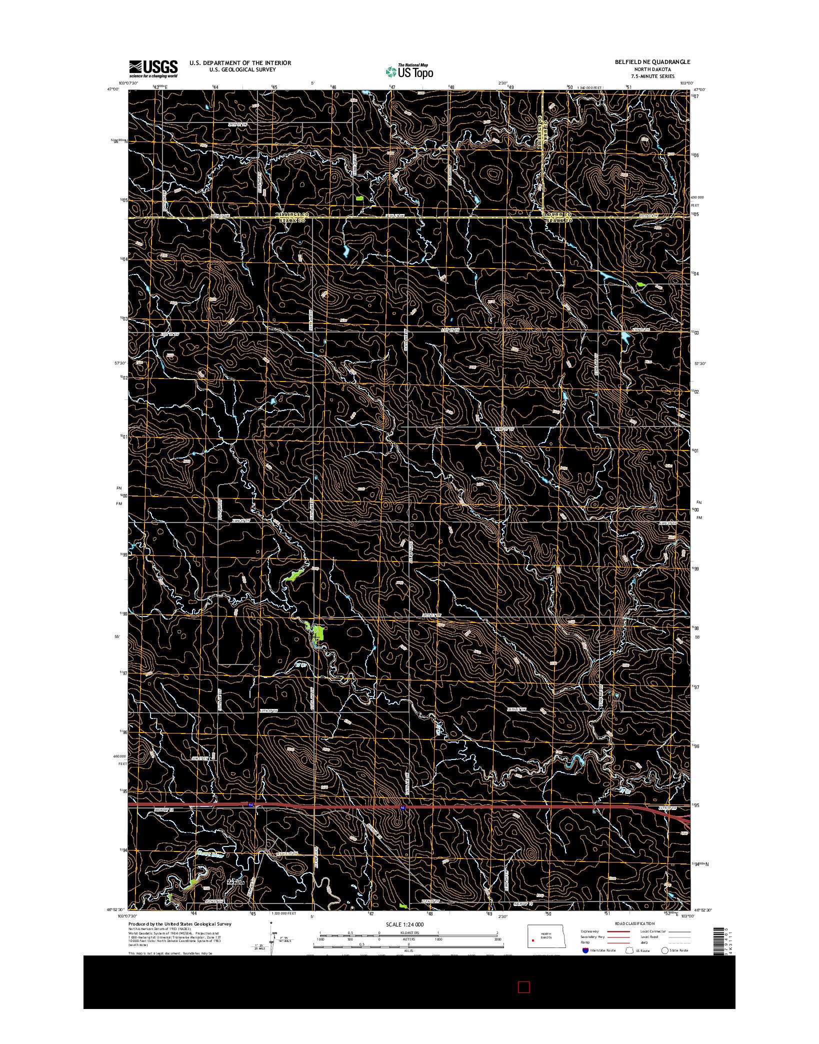 USGS US TOPO 7.5-MINUTE MAP FOR BELFIELD NE, ND 2014