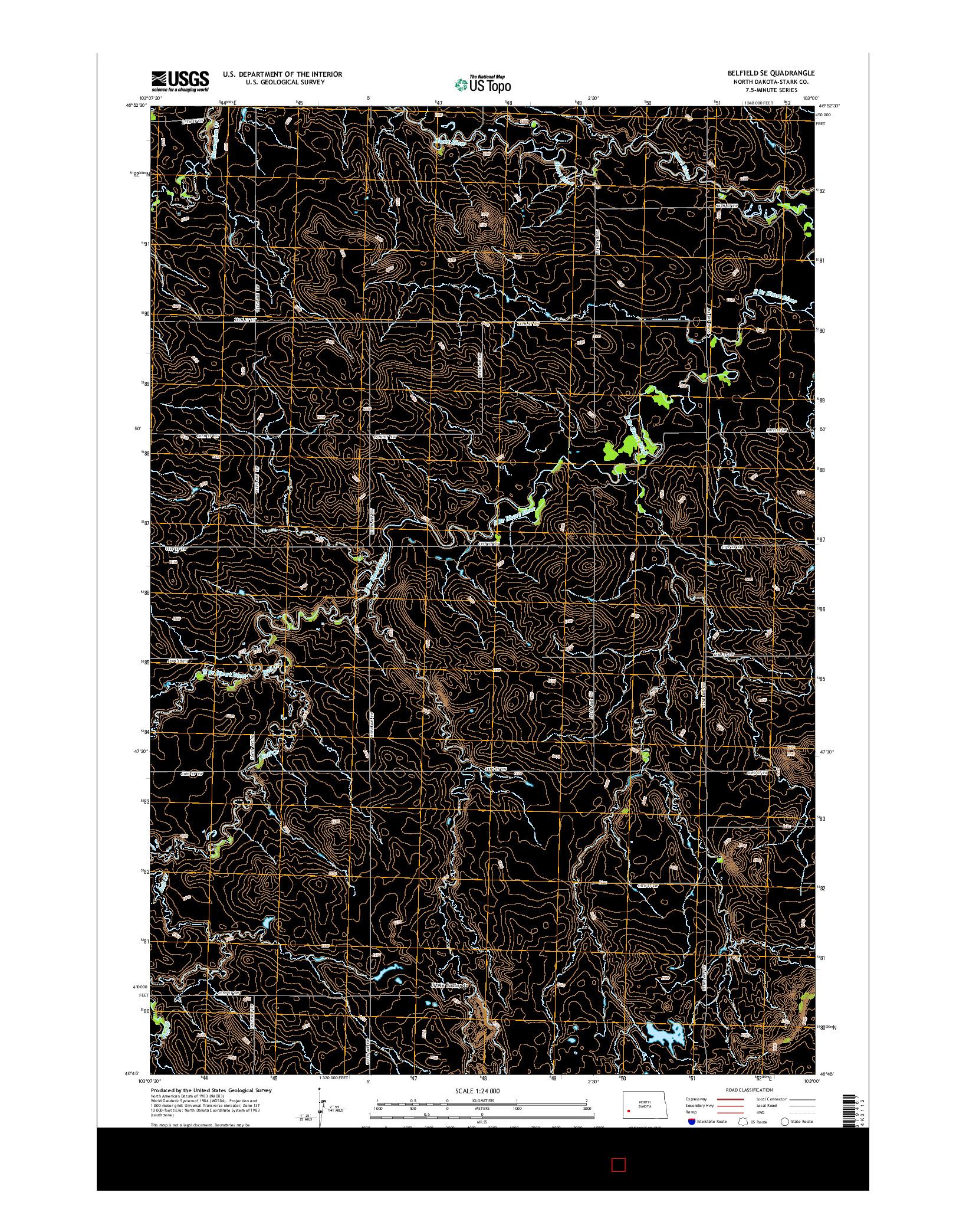 USGS US TOPO 7.5-MINUTE MAP FOR BELFIELD SE, ND 2014