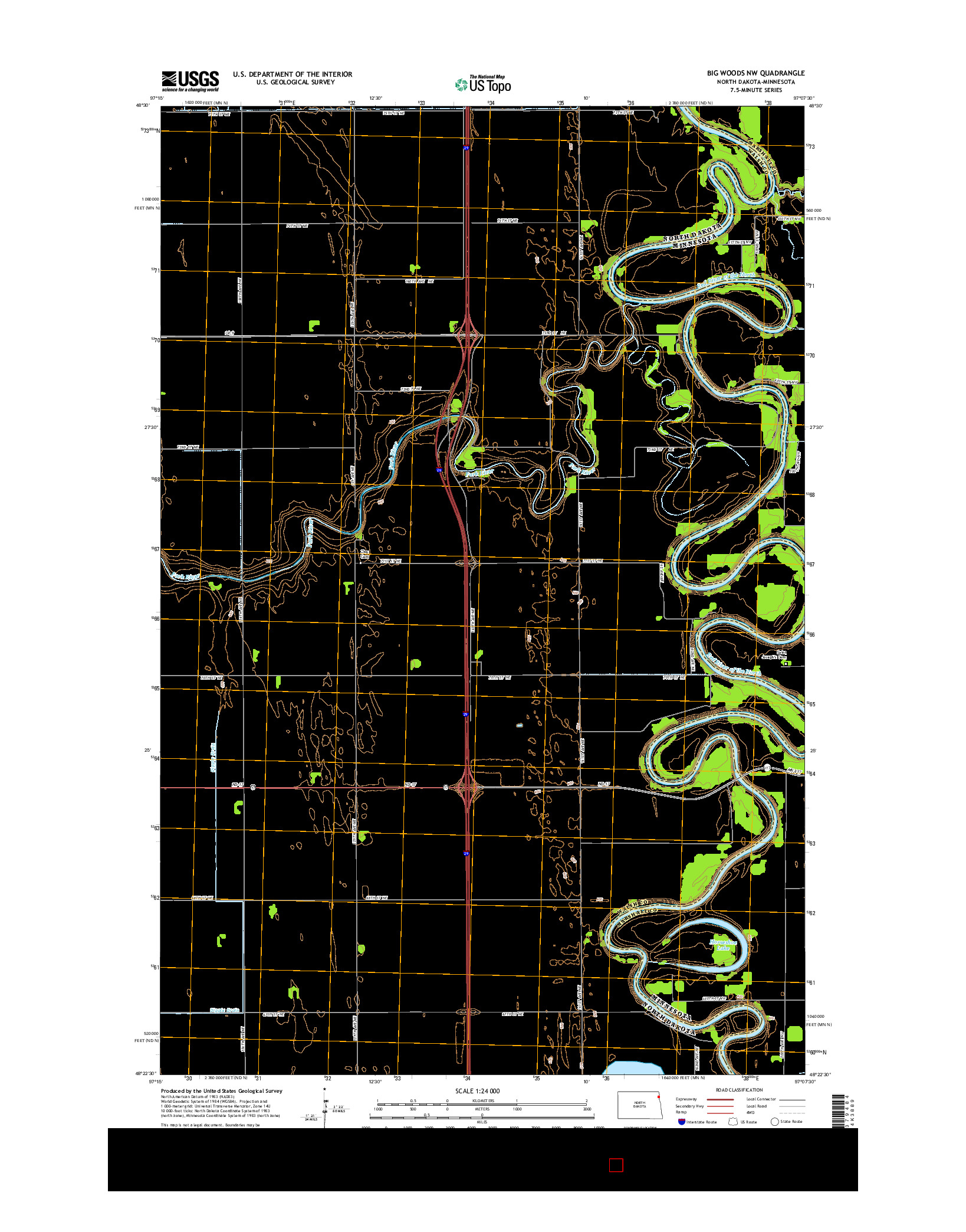USGS US TOPO 7.5-MINUTE MAP FOR BIG WOODS NW, ND-MN 2014