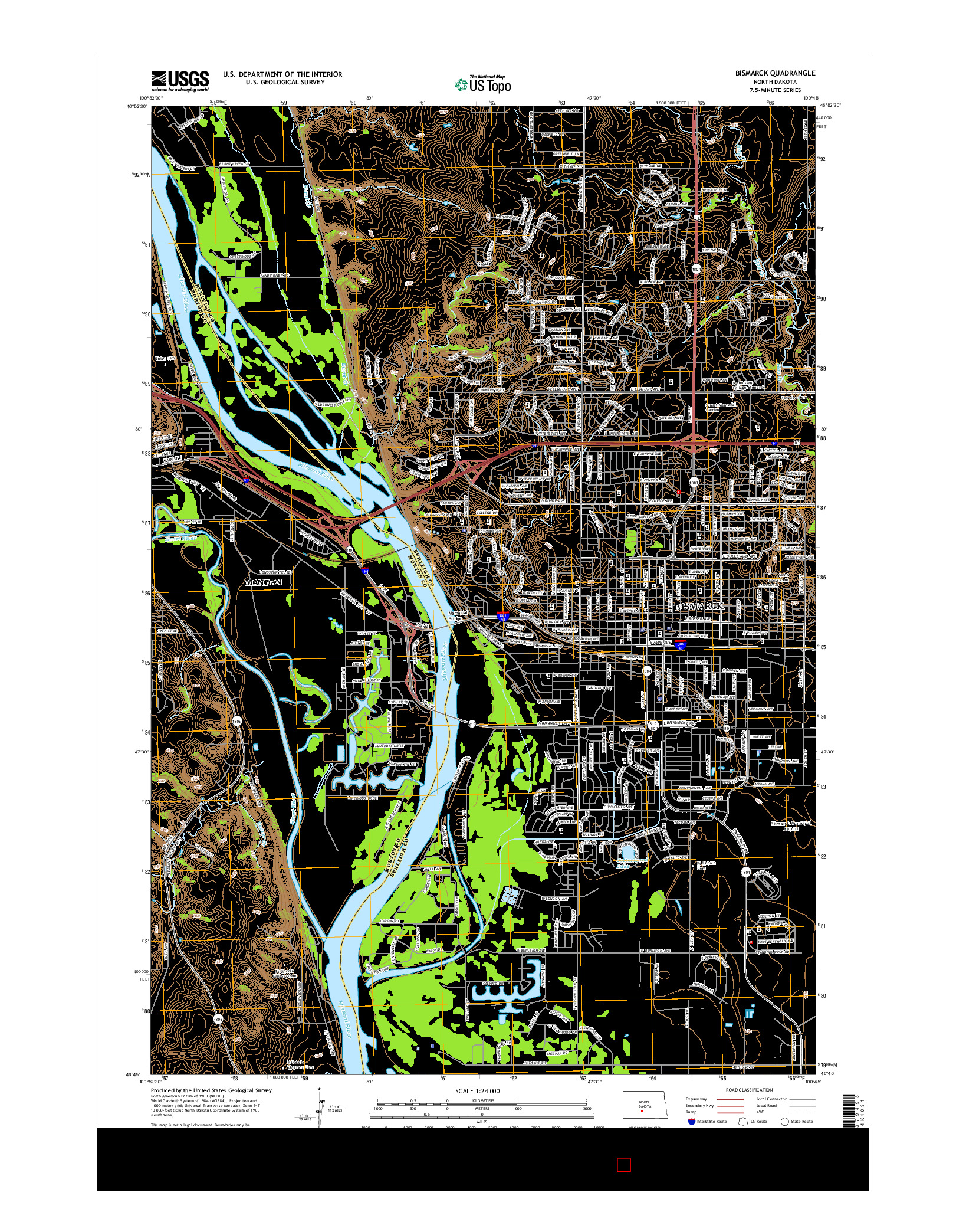 USGS US TOPO 7.5-MINUTE MAP FOR BISMARCK, ND 2014