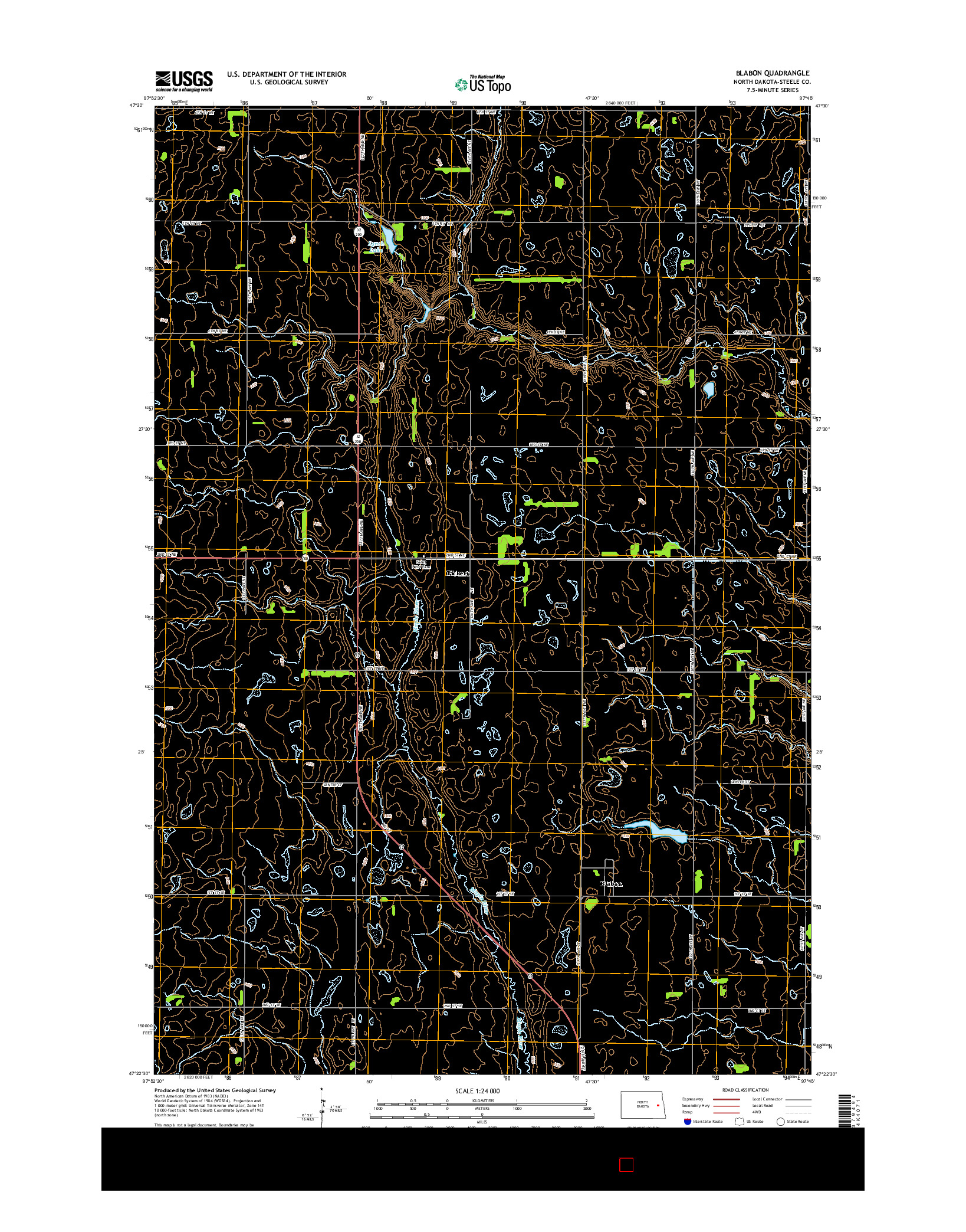 USGS US TOPO 7.5-MINUTE MAP FOR BLABON, ND 2014
