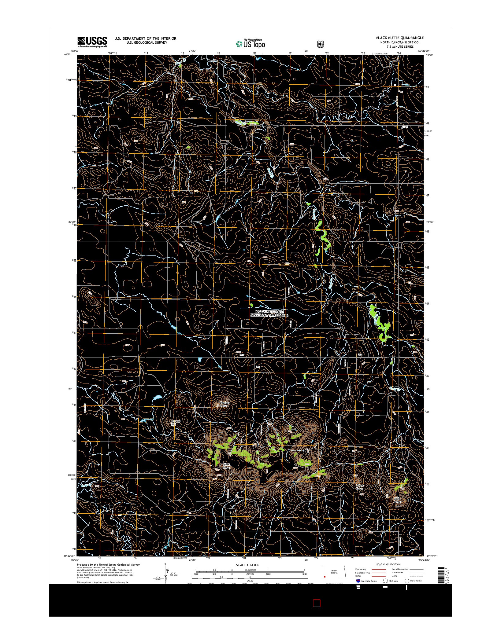 USGS US TOPO 7.5-MINUTE MAP FOR BLACK BUTTE, ND 2014