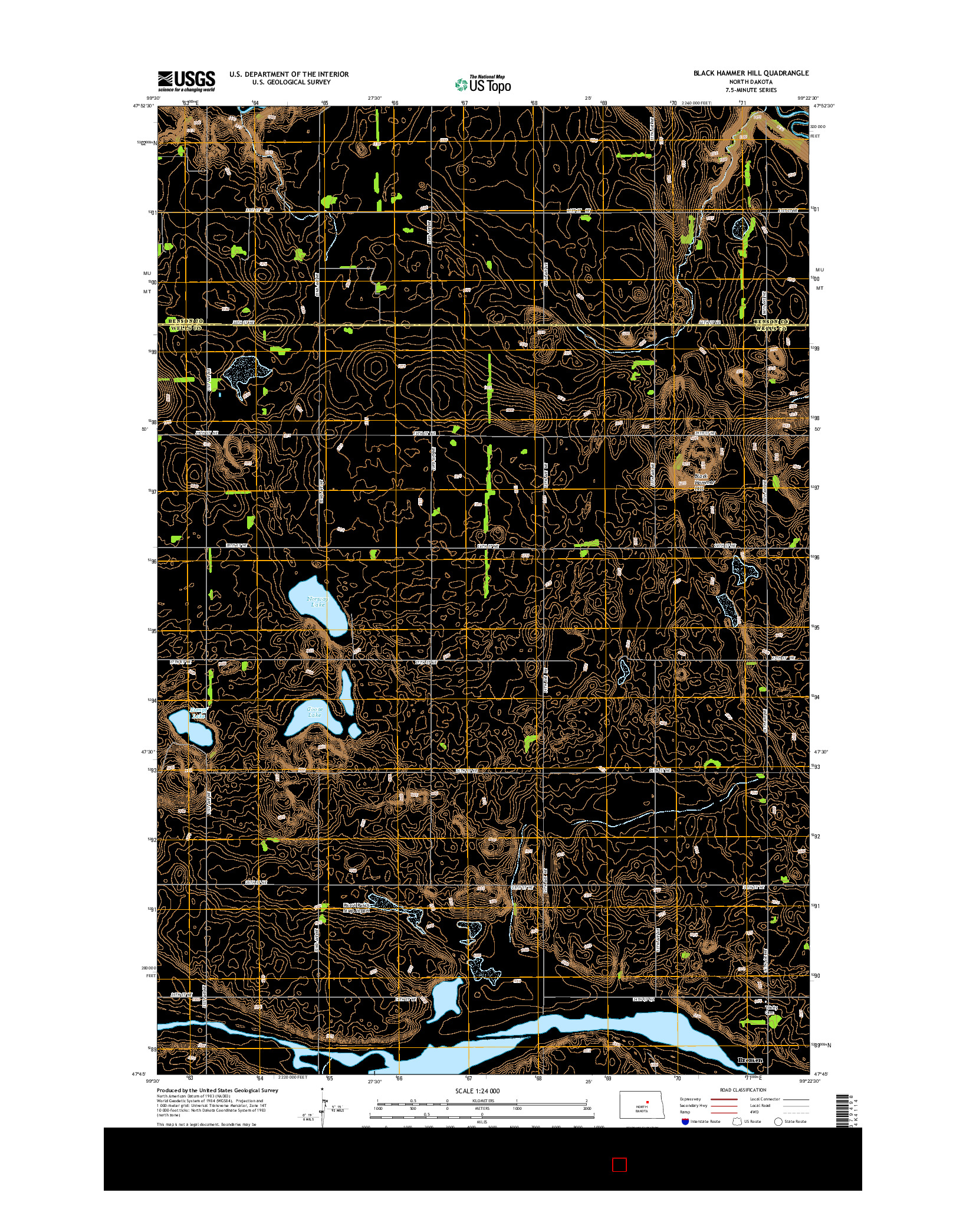 USGS US TOPO 7.5-MINUTE MAP FOR BLACK HAMMER HILL, ND 2014