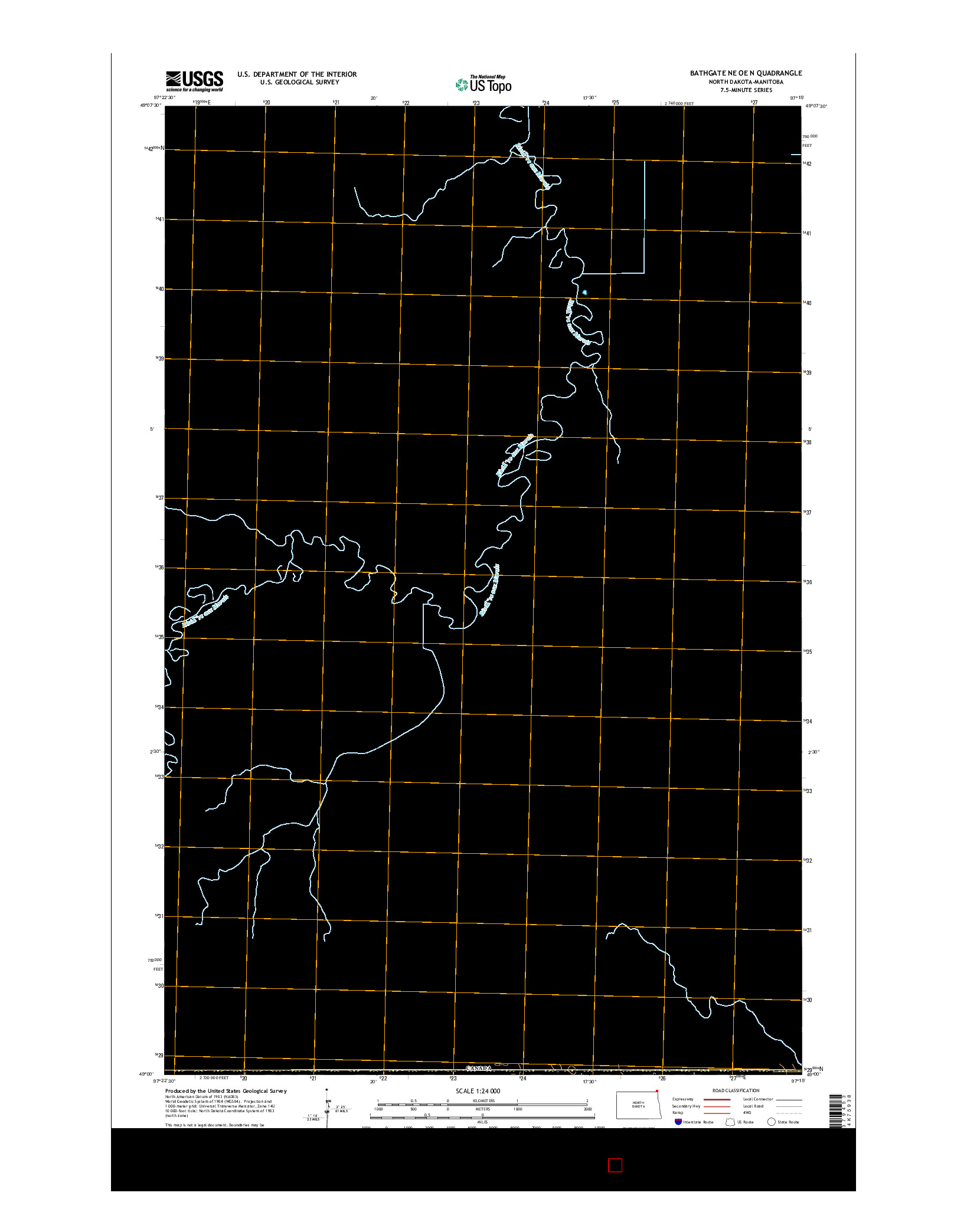 USGS US TOPO 7.5-MINUTE MAP FOR BATHGATE NE OE N, ND-MB 2014