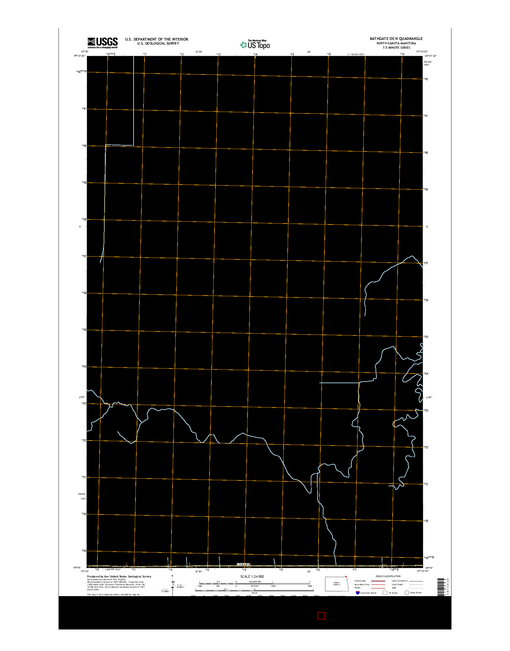 USGS US TOPO 7.5-MINUTE MAP FOR BATHGATE OE N, ND-MB 2014