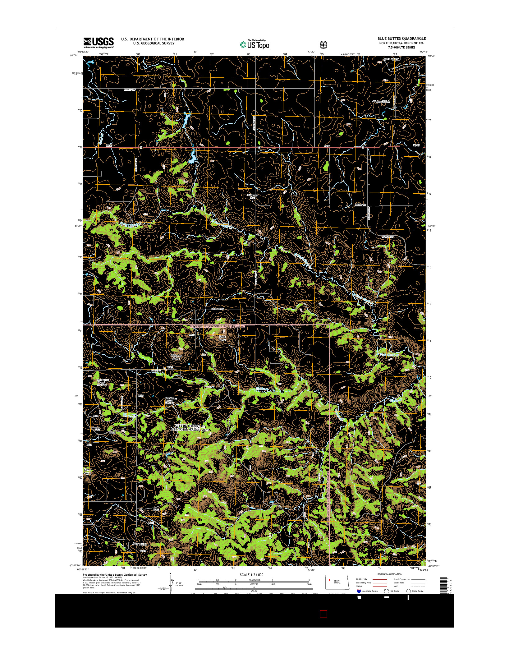USGS US TOPO 7.5-MINUTE MAP FOR BLUE BUTTES, ND 2014