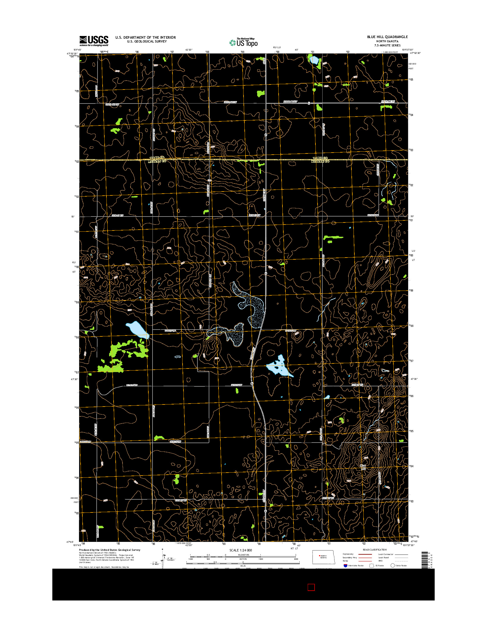 USGS US TOPO 7.5-MINUTE MAP FOR BLUE HILL, ND 2014
