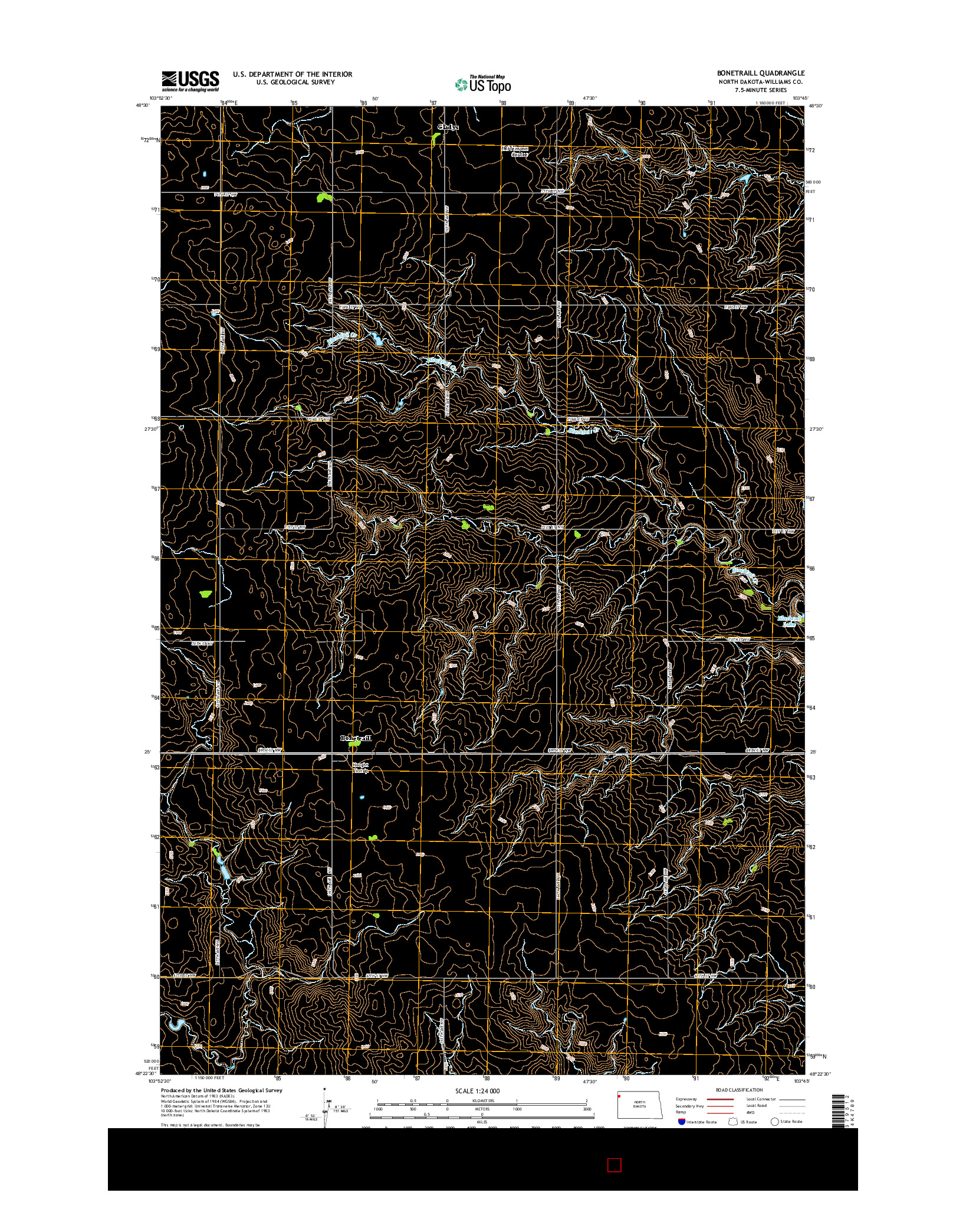 USGS US TOPO 7.5-MINUTE MAP FOR BONETRAILL, ND 2014