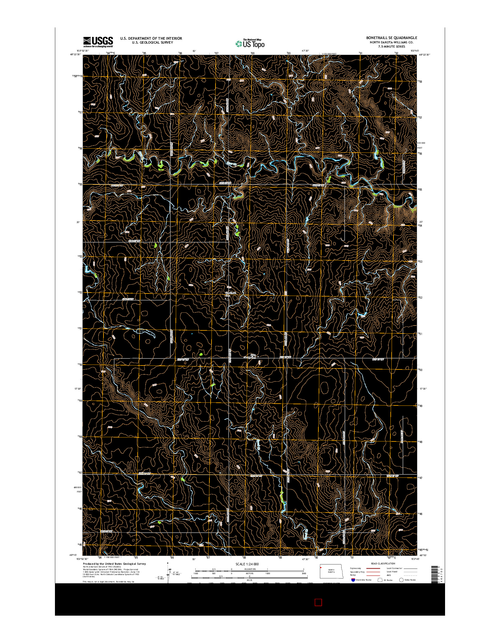 USGS US TOPO 7.5-MINUTE MAP FOR BONETRAILL SE, ND 2014