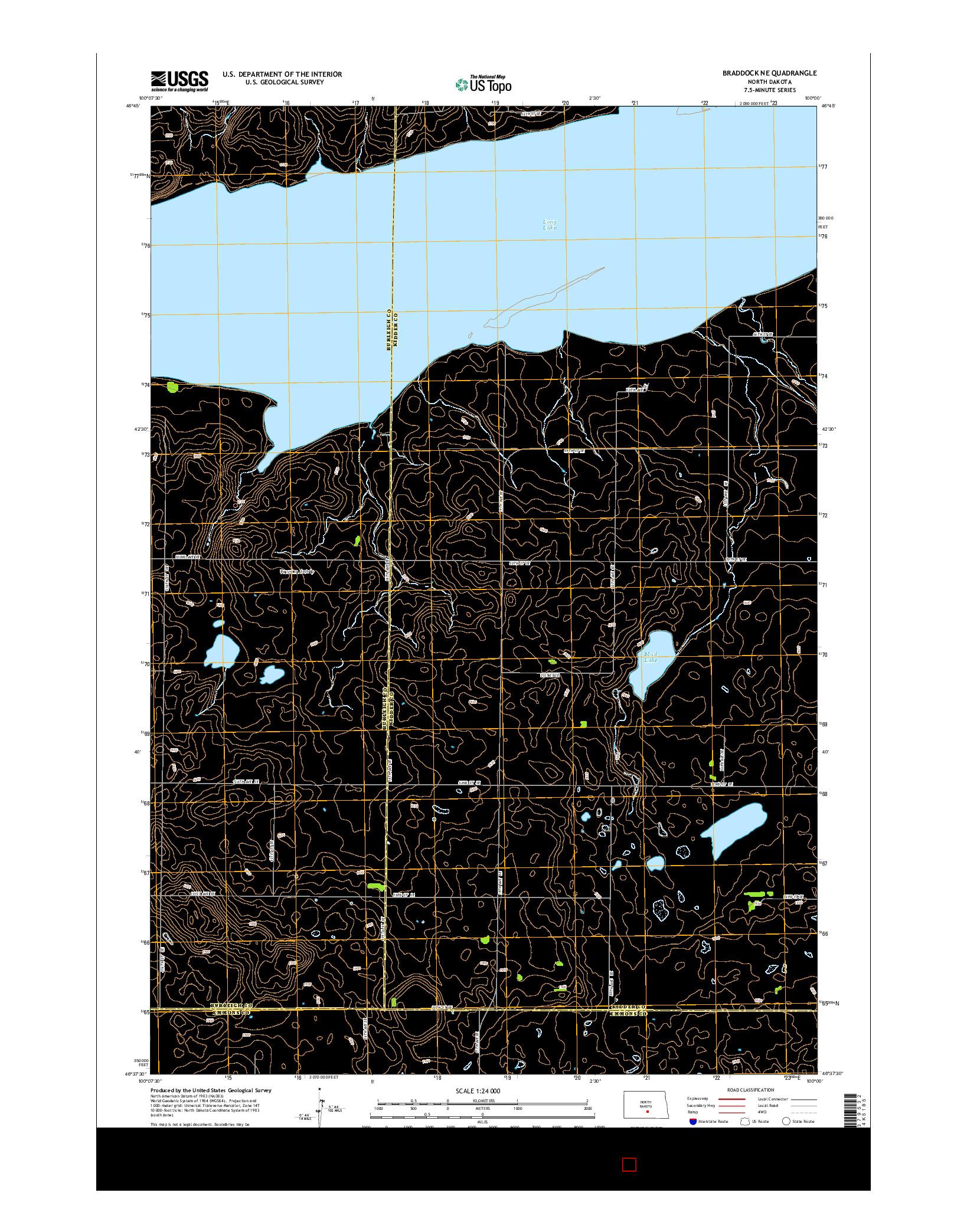 USGS US TOPO 7.5-MINUTE MAP FOR BRADDOCK NE, ND 2014