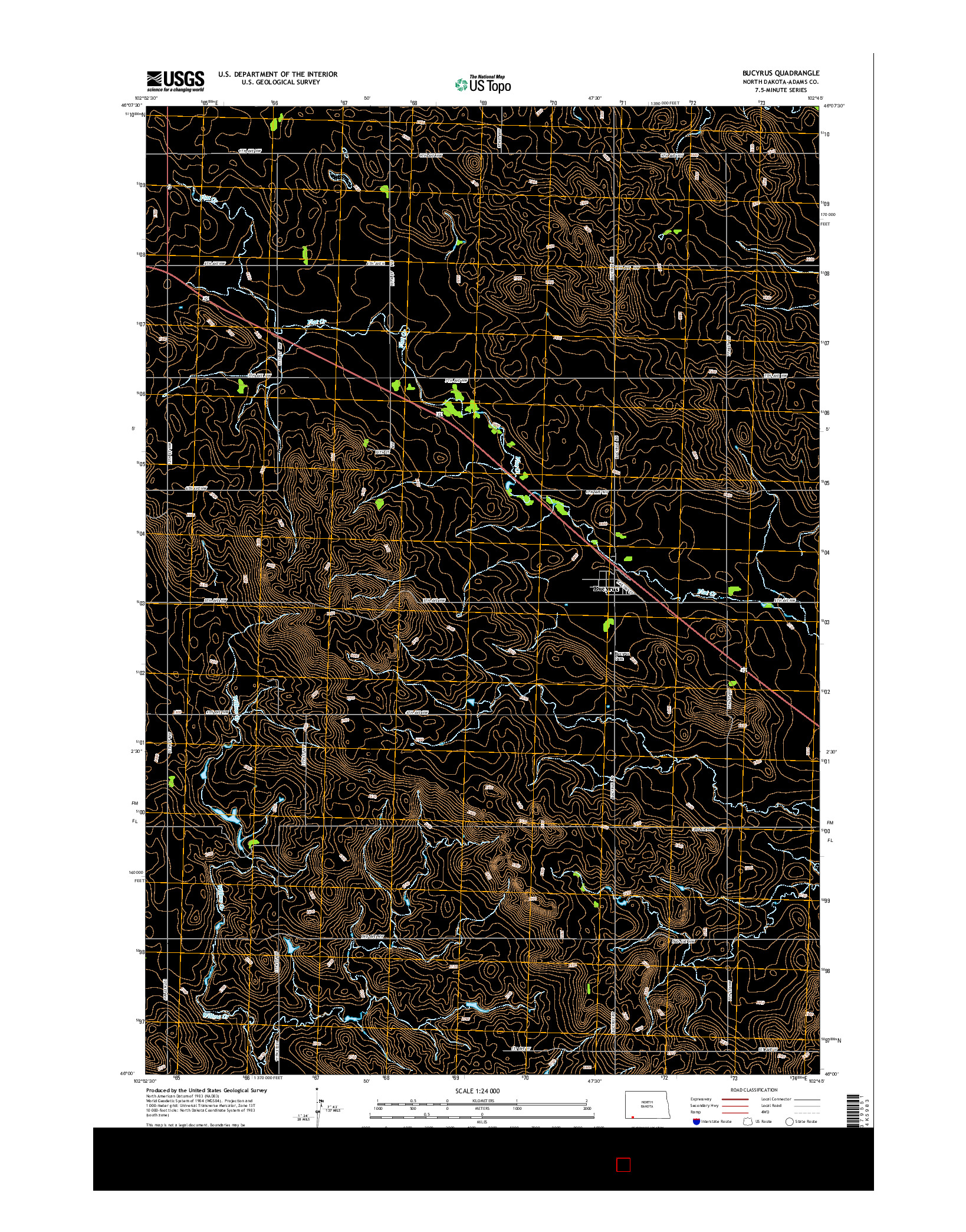 USGS US TOPO 7.5-MINUTE MAP FOR BUCYRUS, ND 2014
