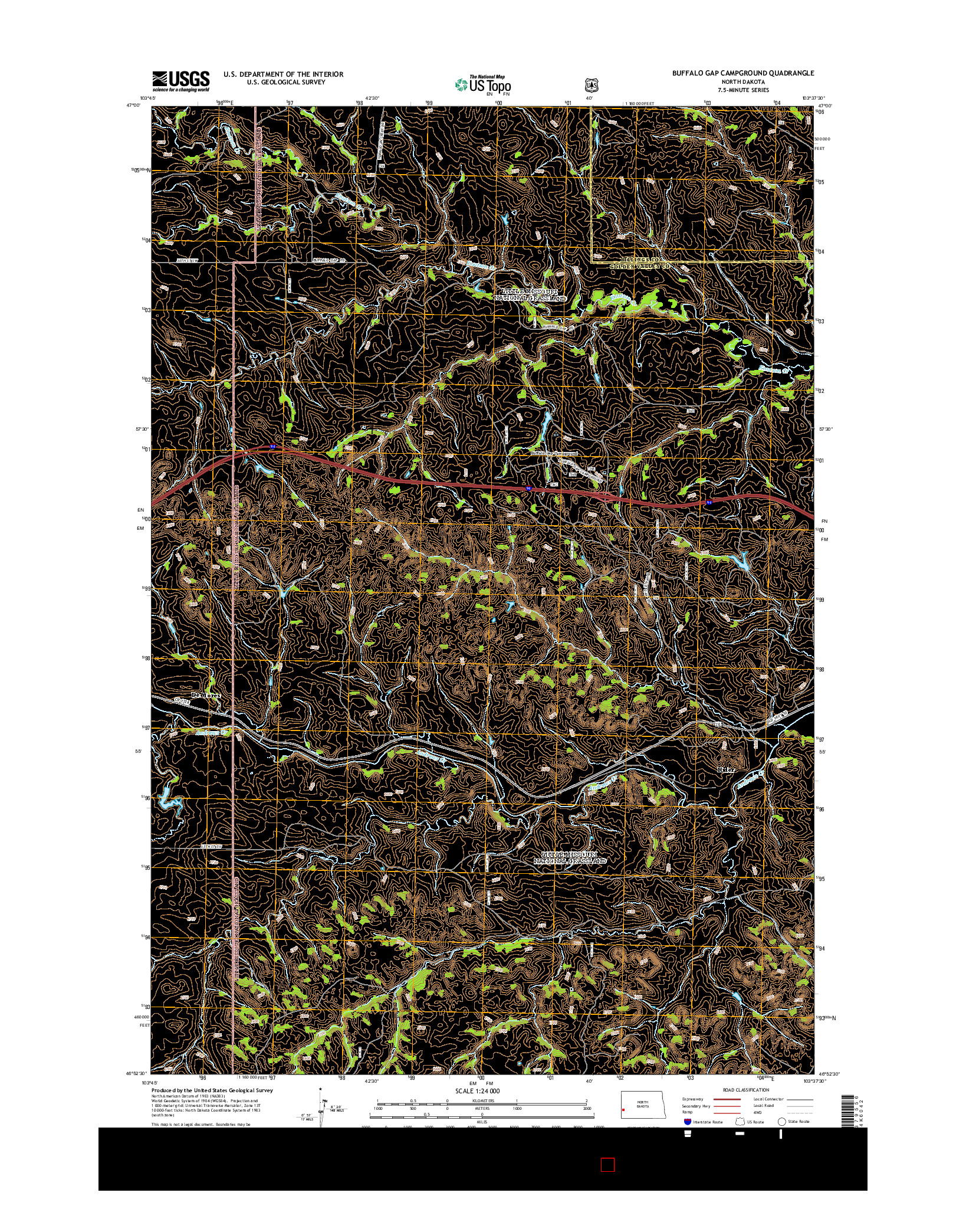 USGS US TOPO 7.5-MINUTE MAP FOR BUFFALO GAP CAMPGROUND, ND 2014