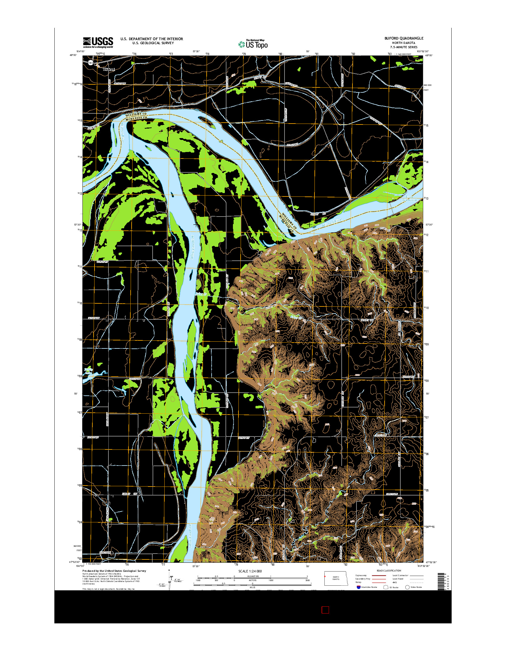 USGS US TOPO 7.5-MINUTE MAP FOR BUFORD, ND 2014