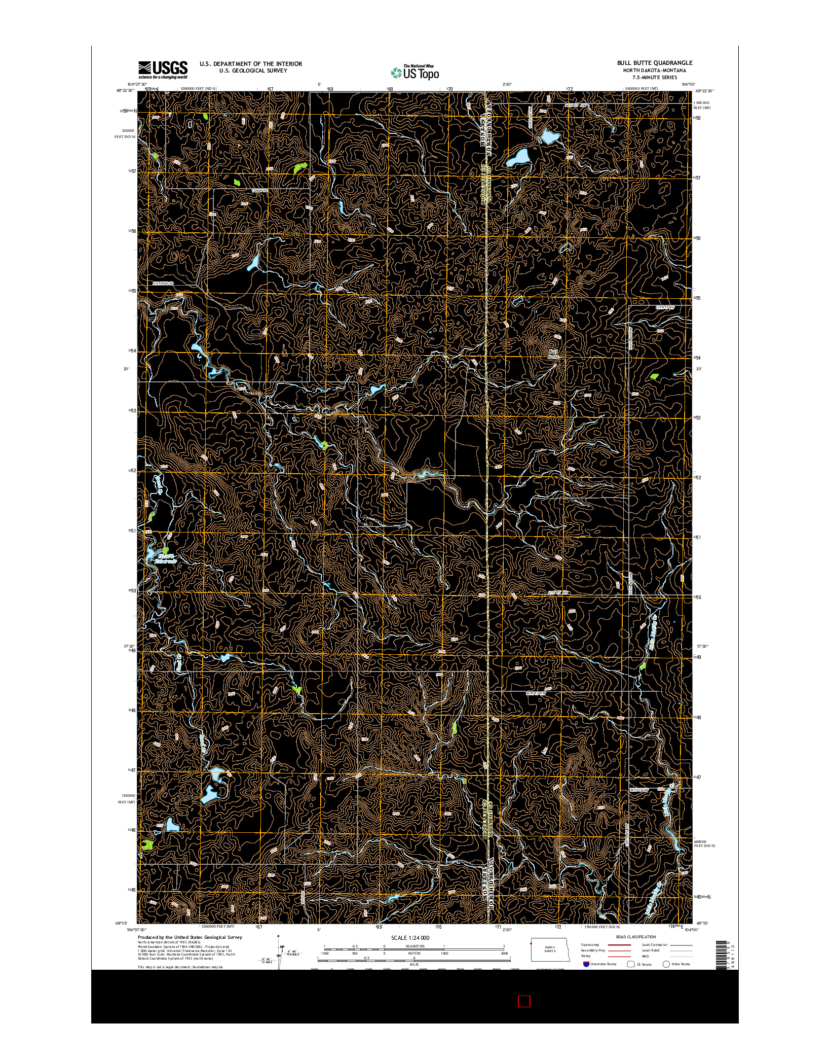 USGS US TOPO 7.5-MINUTE MAP FOR BULL BUTTE, ND-MT 2014