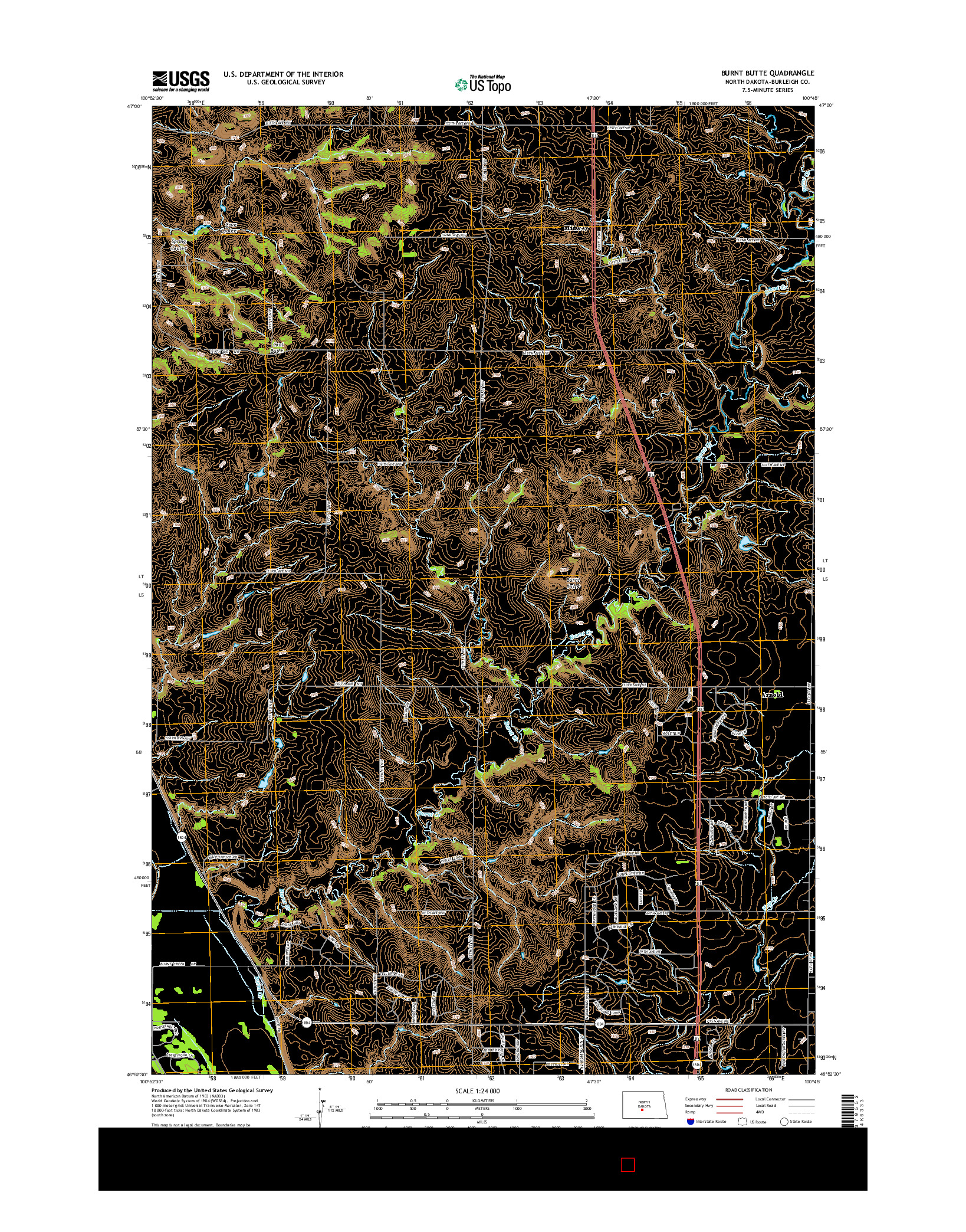 USGS US TOPO 7.5-MINUTE MAP FOR BURNT BUTTE, ND 2014