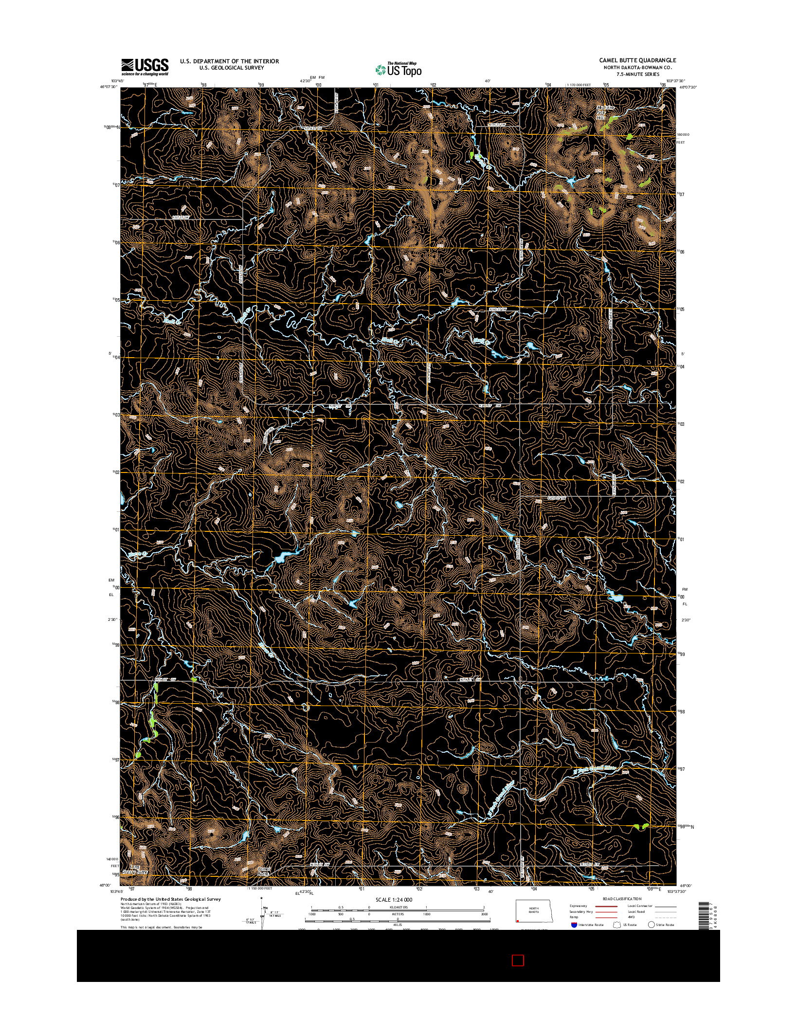 USGS US TOPO 7.5-MINUTE MAP FOR CAMEL BUTTE, ND 2014