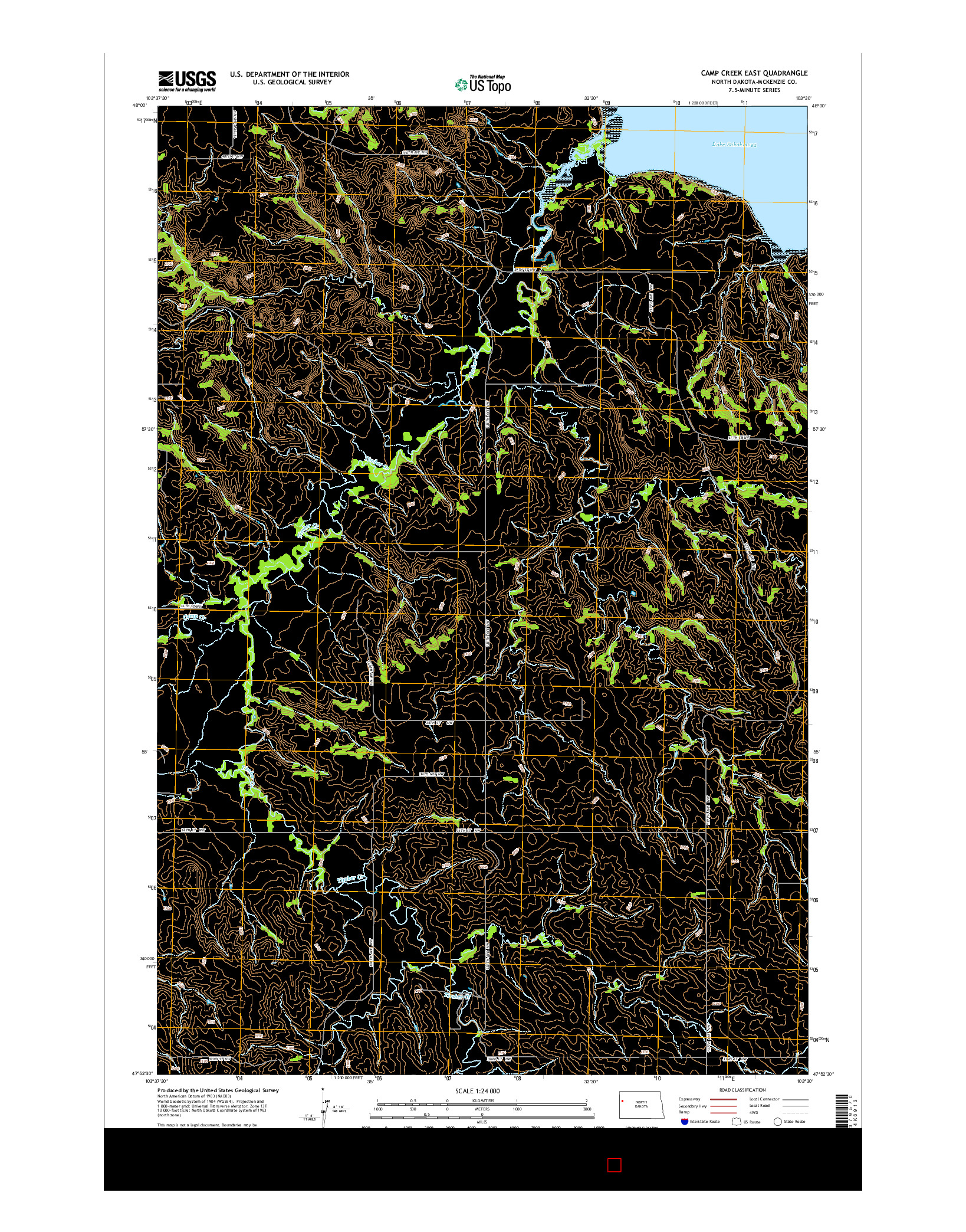 USGS US TOPO 7.5-MINUTE MAP FOR CAMP CREEK EAST, ND 2014