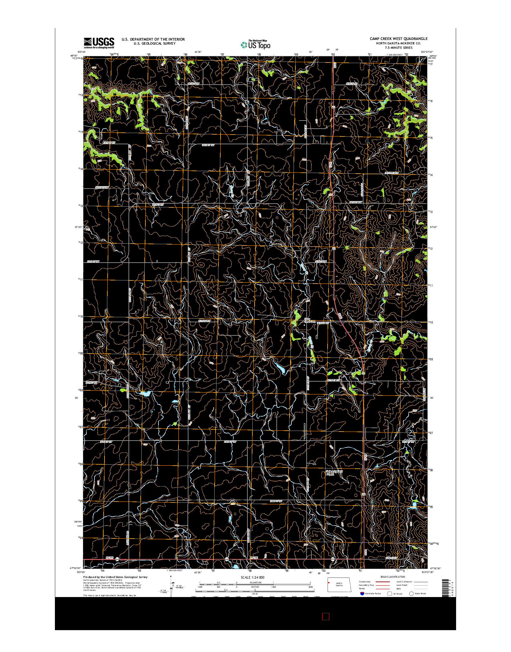 USGS US TOPO 7.5-MINUTE MAP FOR CAMP CREEK WEST, ND 2014