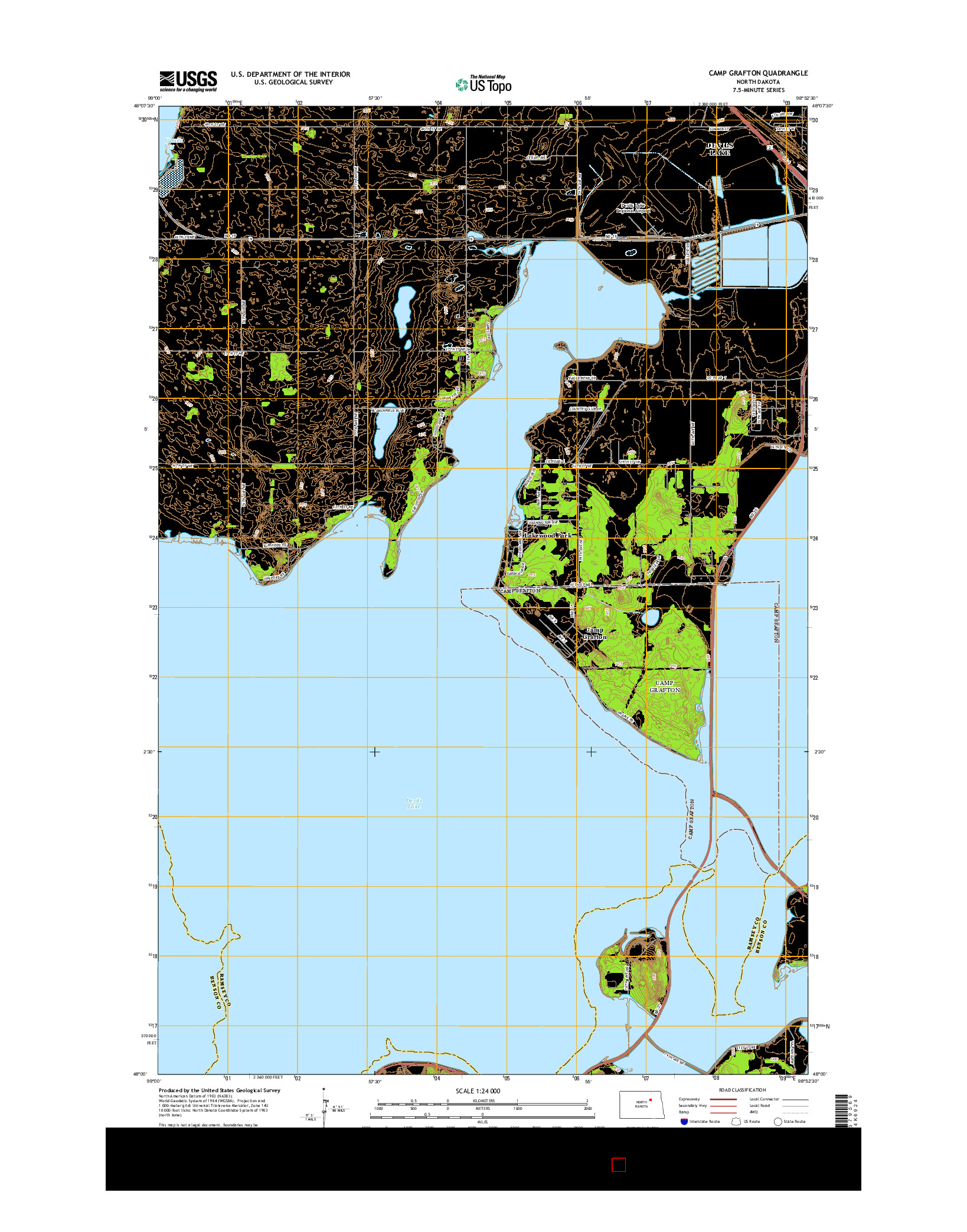 USGS US TOPO 7.5-MINUTE MAP FOR CAMP GRAFTON, ND 2014