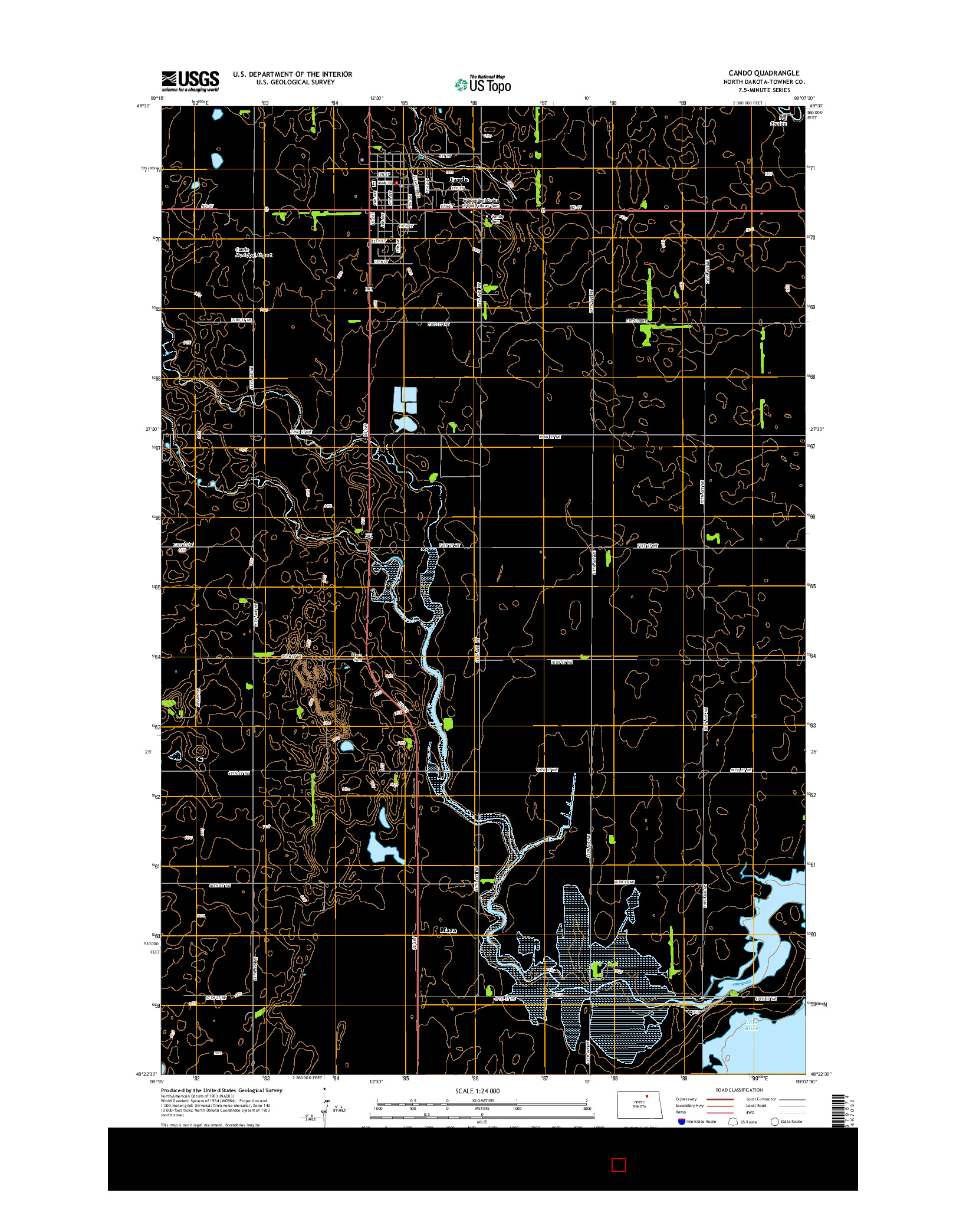 USGS US TOPO 7.5-MINUTE MAP FOR CANDO, ND 2014