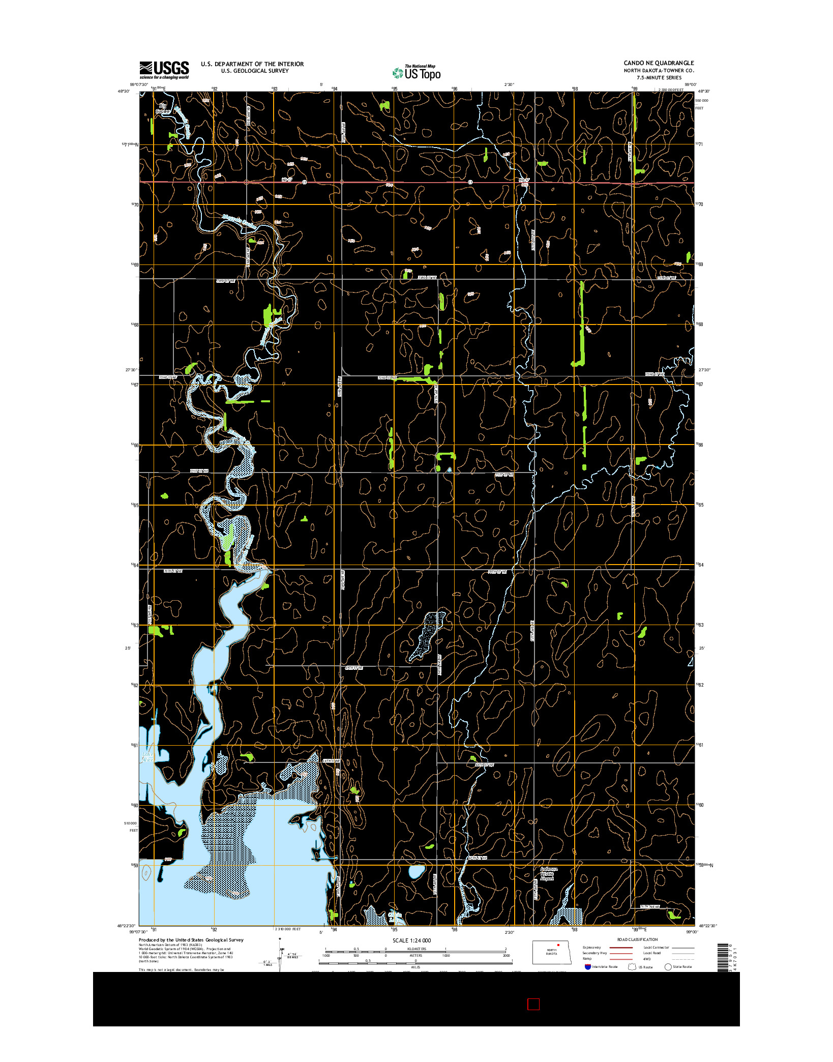 USGS US TOPO 7.5-MINUTE MAP FOR CANDO NE, ND 2014