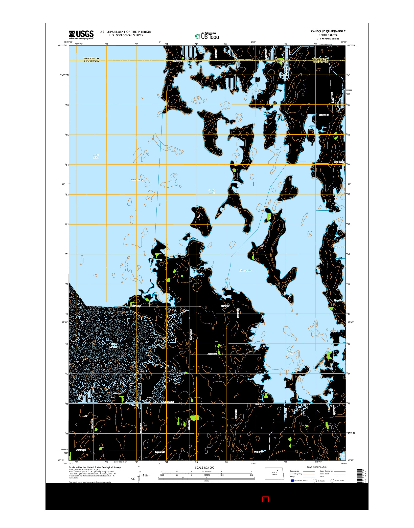 USGS US TOPO 7.5-MINUTE MAP FOR CANDO SE, ND 2014